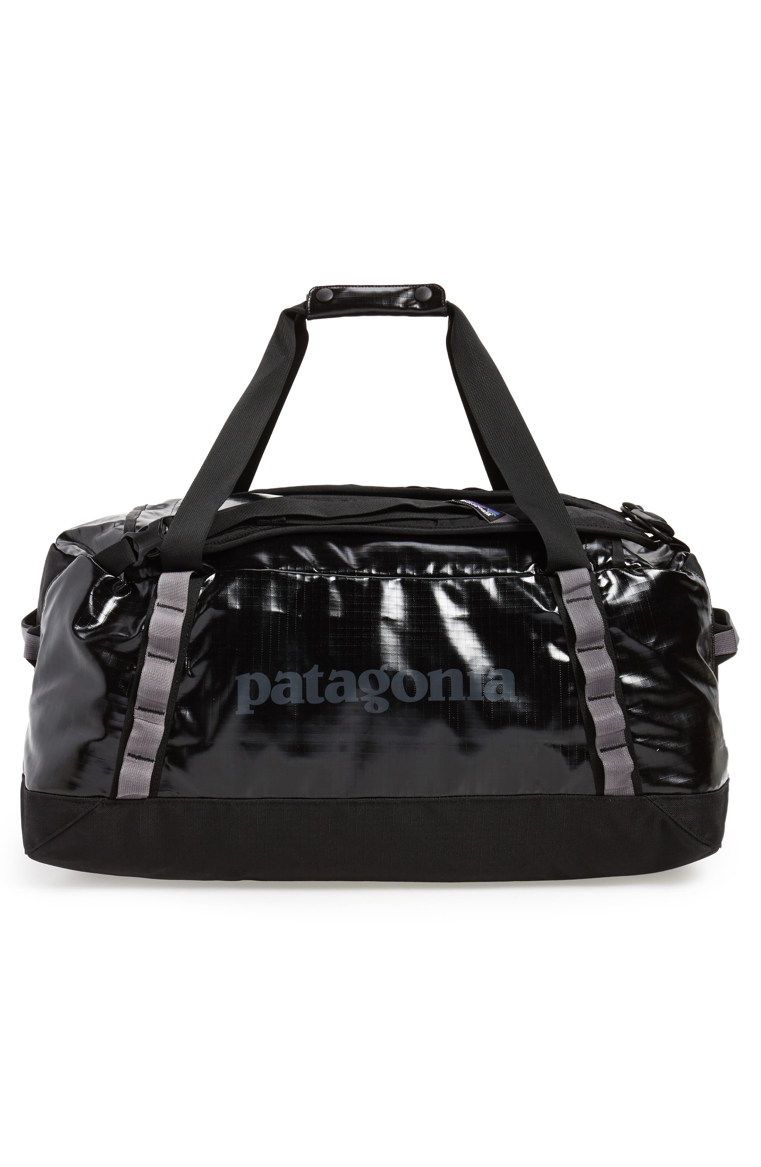 PATAGONIA, Black Hole Water Repellent 60-Liter Duffle Bag, Alternate thumbnail 3, color, BLACK