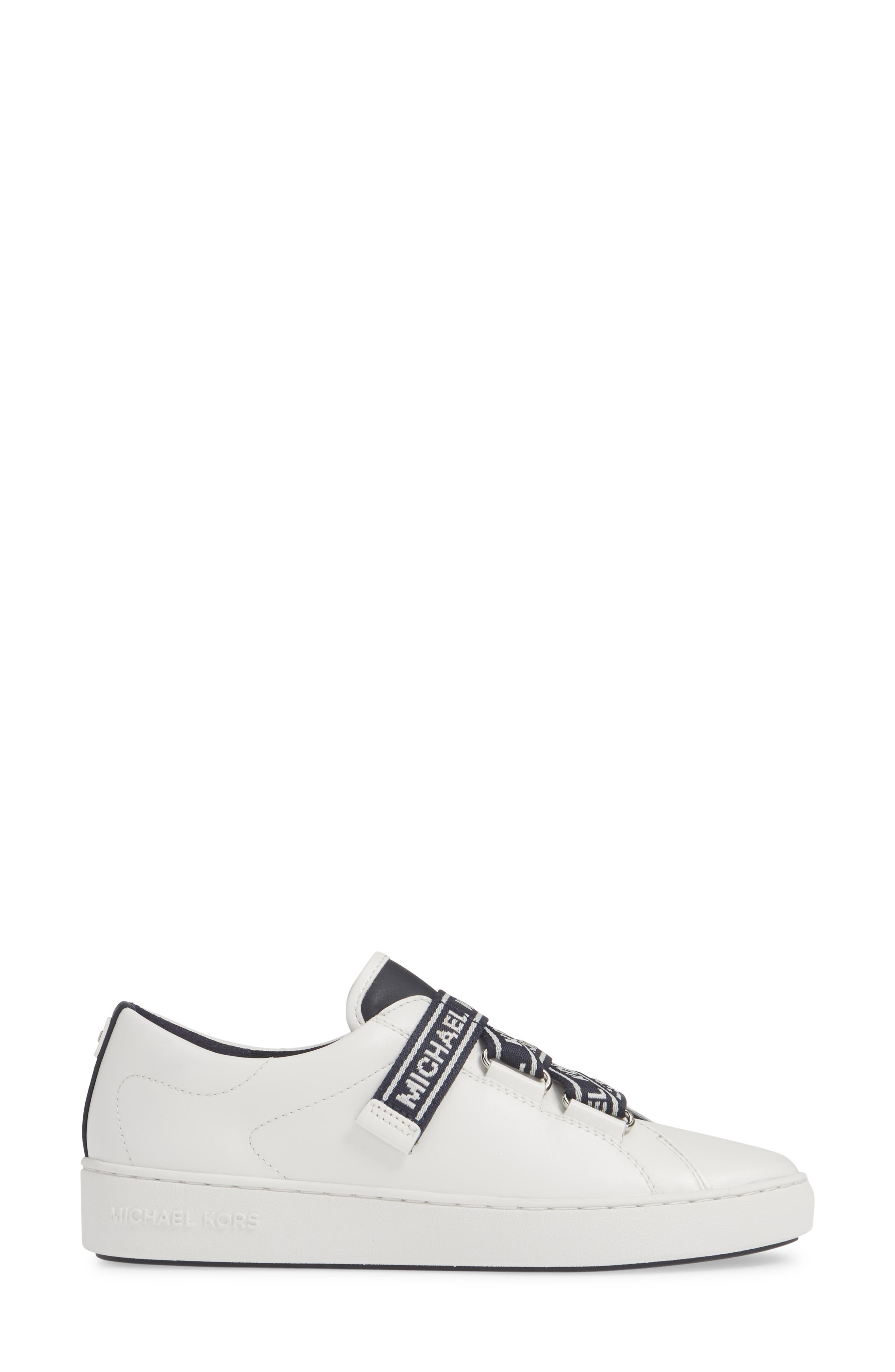 MICHAEL MICHAEL KORS, Casey Low Top Sneaker, Alternate thumbnail 3, color, ADMIRAL/ WHITE