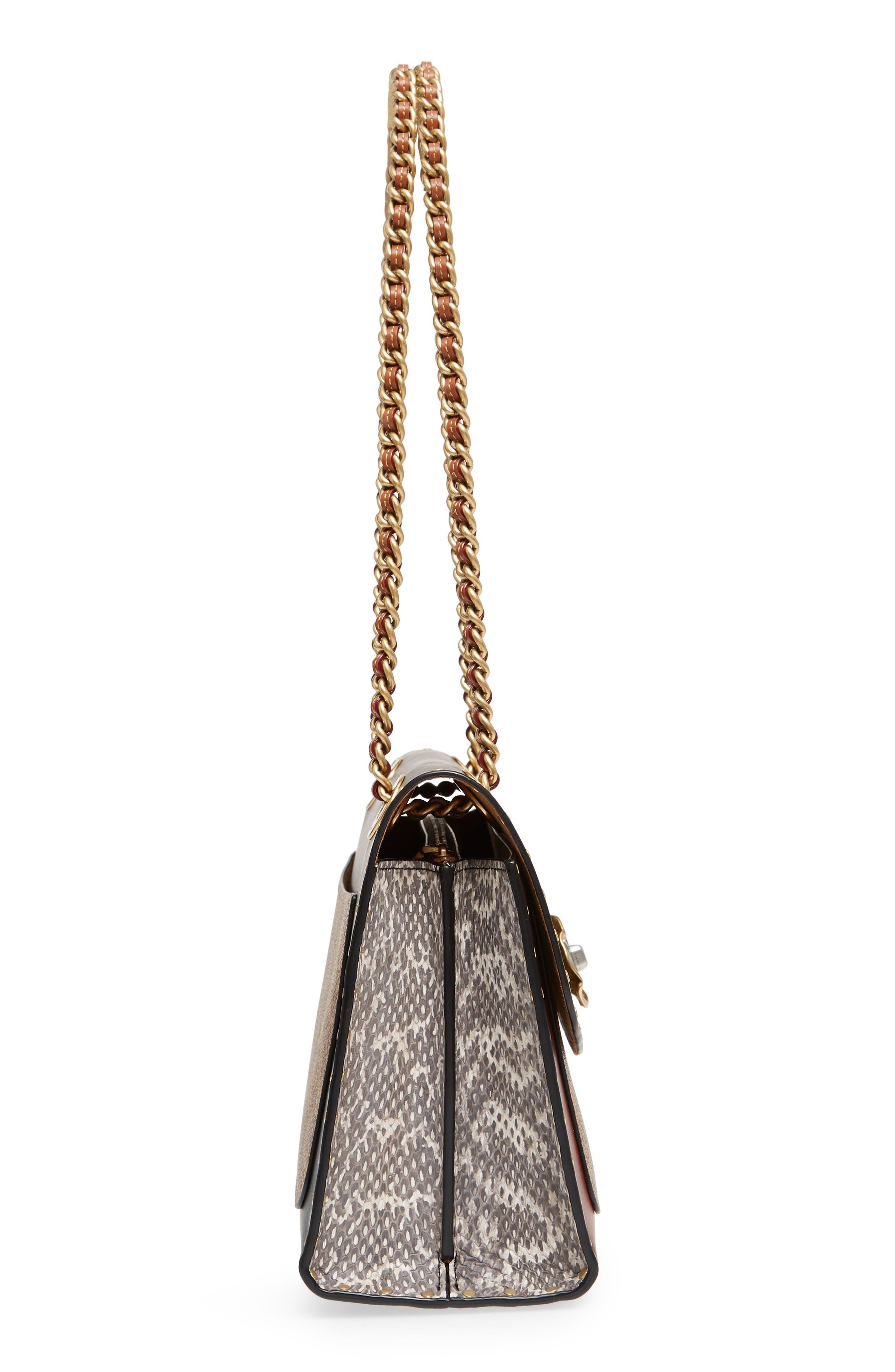 COACH, Parker Leather & Genuine Snakeskin Shoulder Bag, Alternate thumbnail 6, color, BLACK MULTI