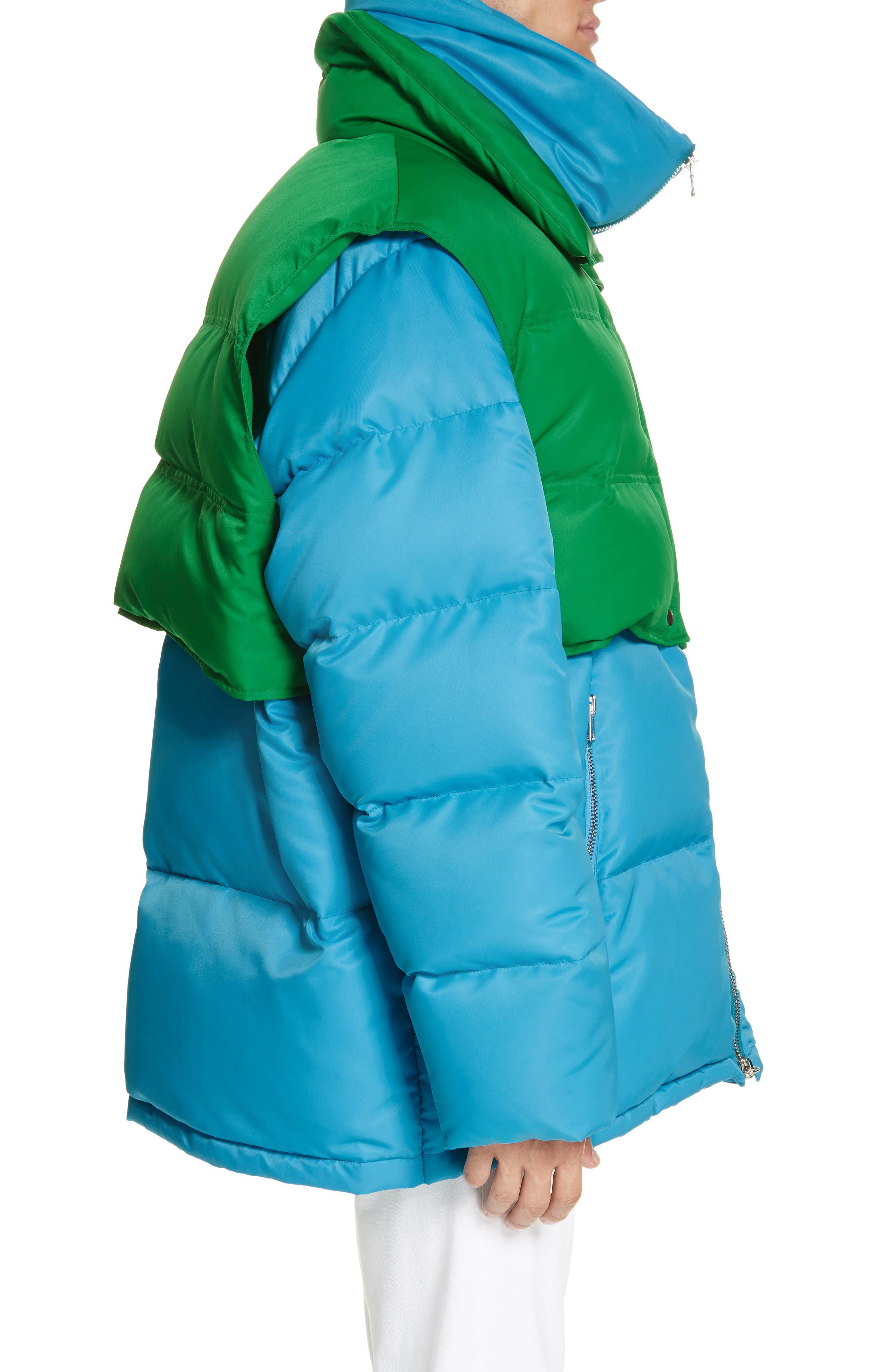CALVIN KLEIN 205W39NYC, Water Repellent Quilted Puffer Jacket, Alternate thumbnail 3, color, RIVIERA BLUE SPRING GREEN