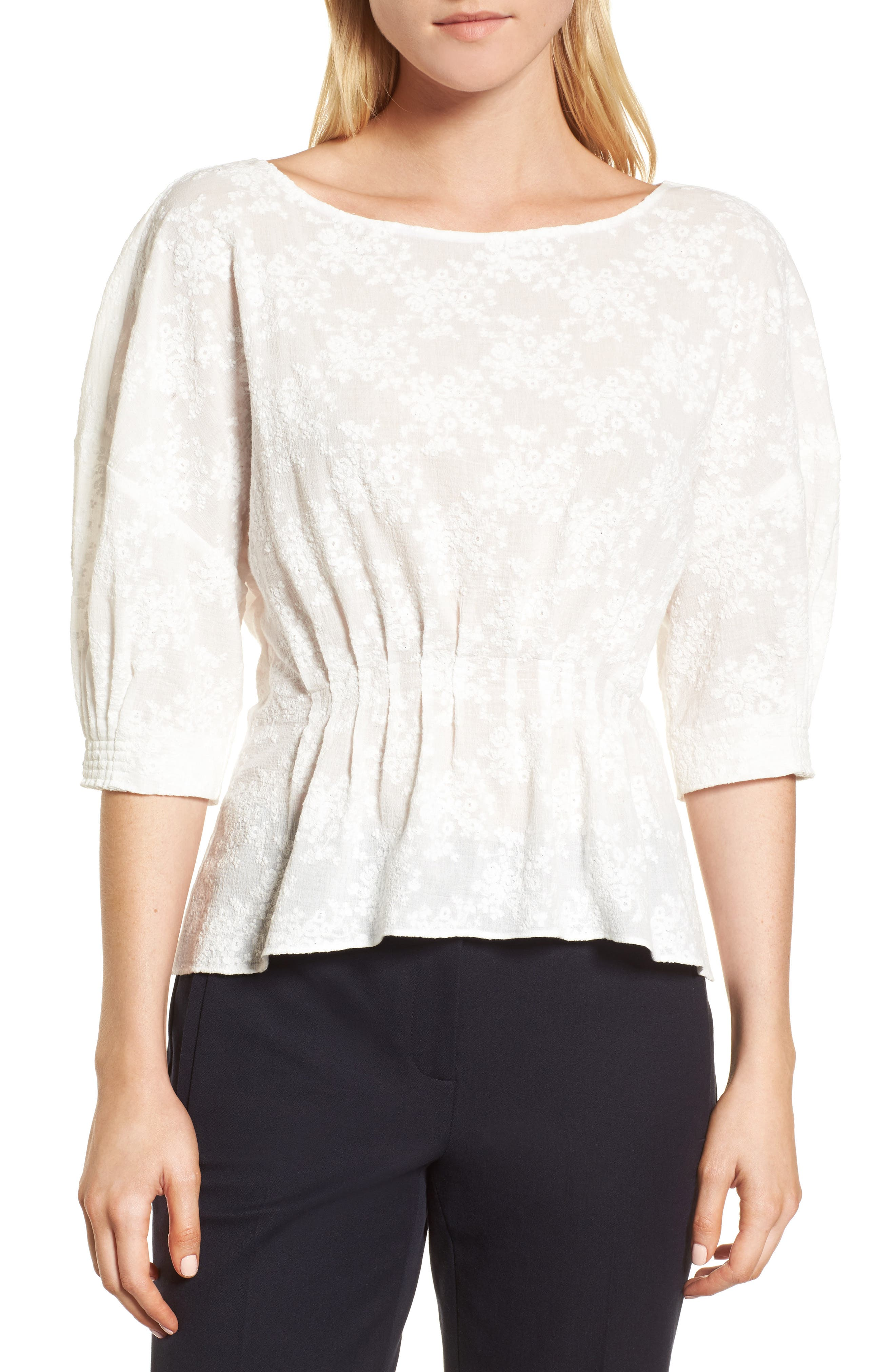 NORDSTROM SIGNATURE, Embroidered Tucked Top, Main thumbnail 1, color, 100