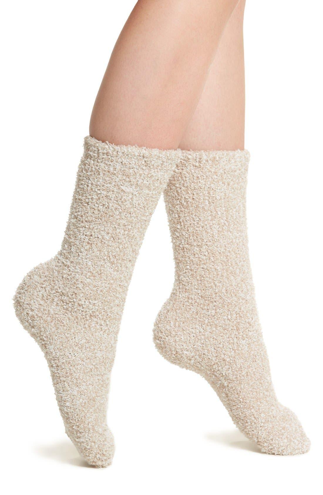 BAREFOOT DREAMS<SUP>®</SUP>, CozyChic<sup>®</sup> Socks, Main thumbnail 1, color, STONE/ WHITE