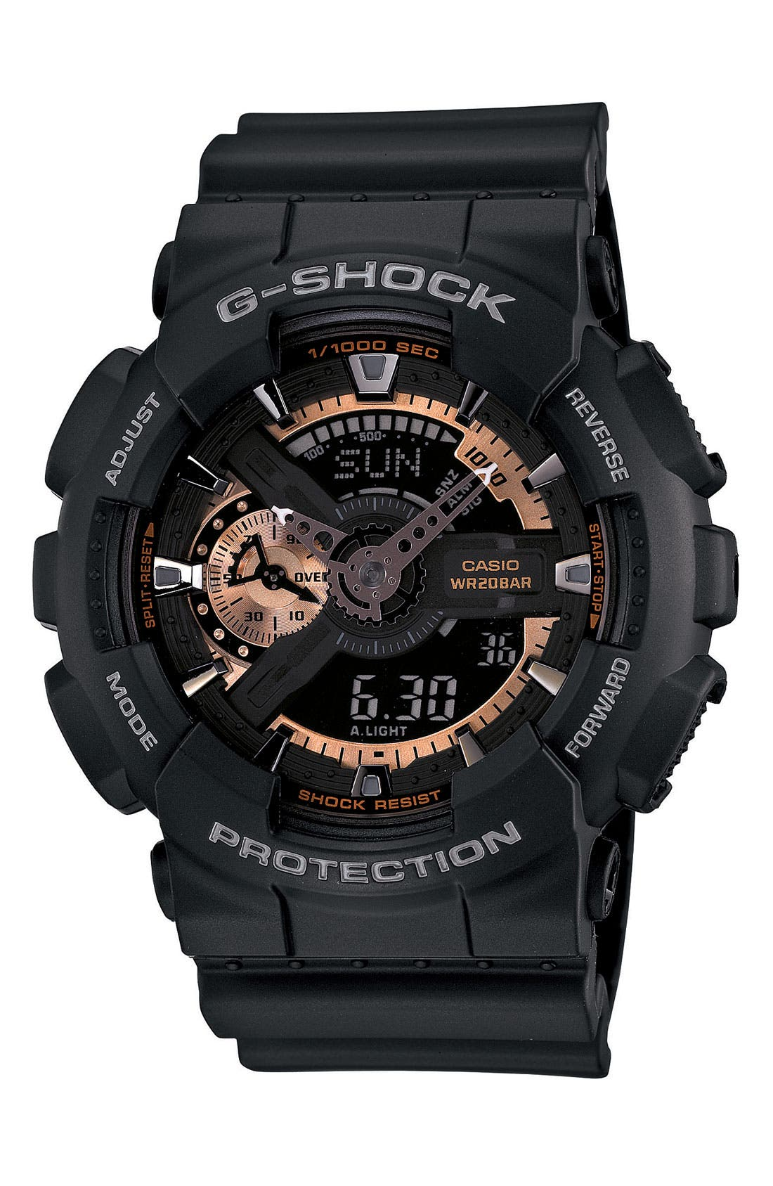 G-SHOCK BABY-G, G-Shock 'X-Large' Rose Gold Dial Watch, 55mm, Main thumbnail 1, color, BLACK/ ROSEGOLD