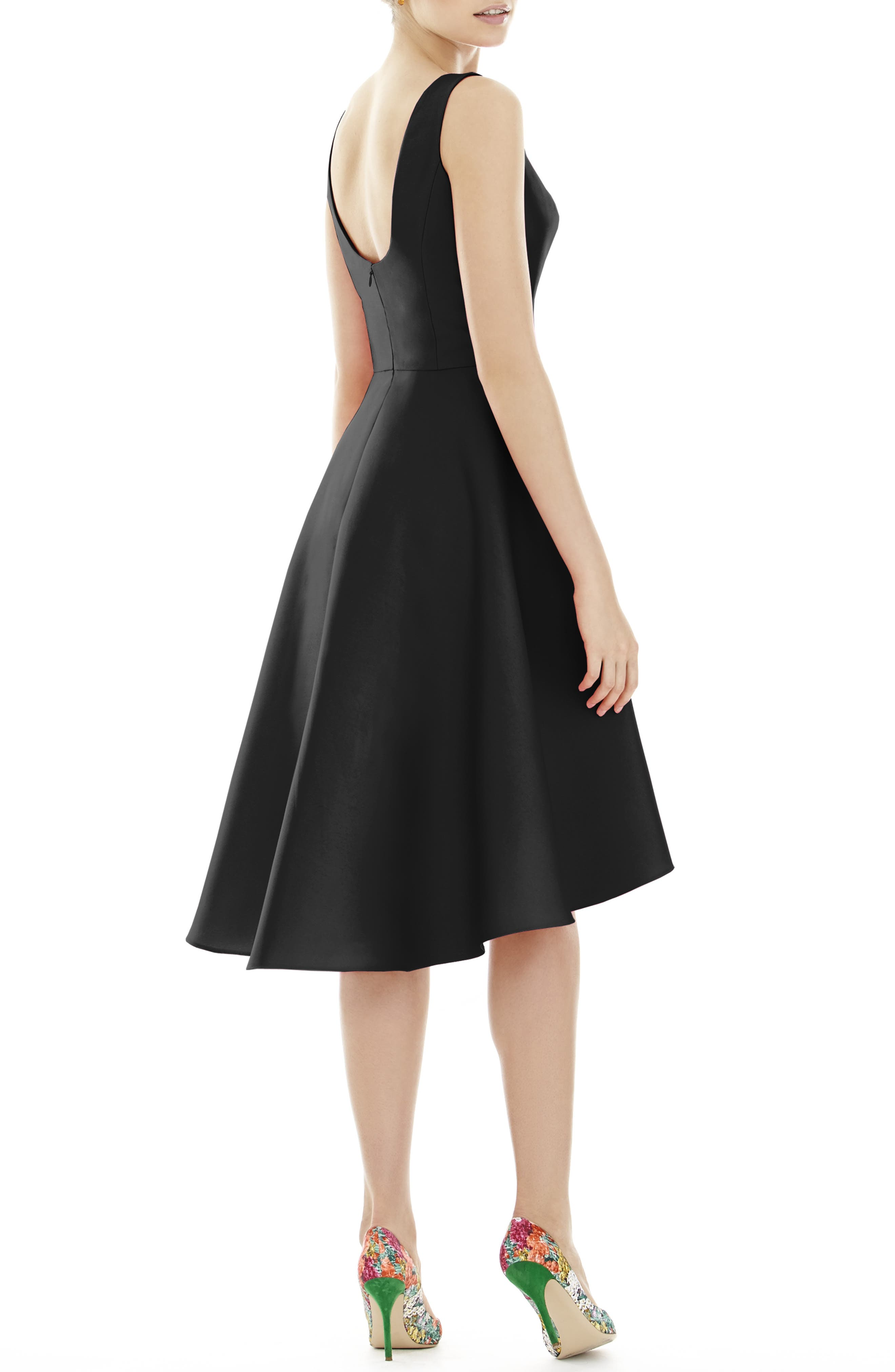 ALFRED SUNG, High/Low Satin Twill Cocktail Dress, Alternate thumbnail 2, color, BLACK