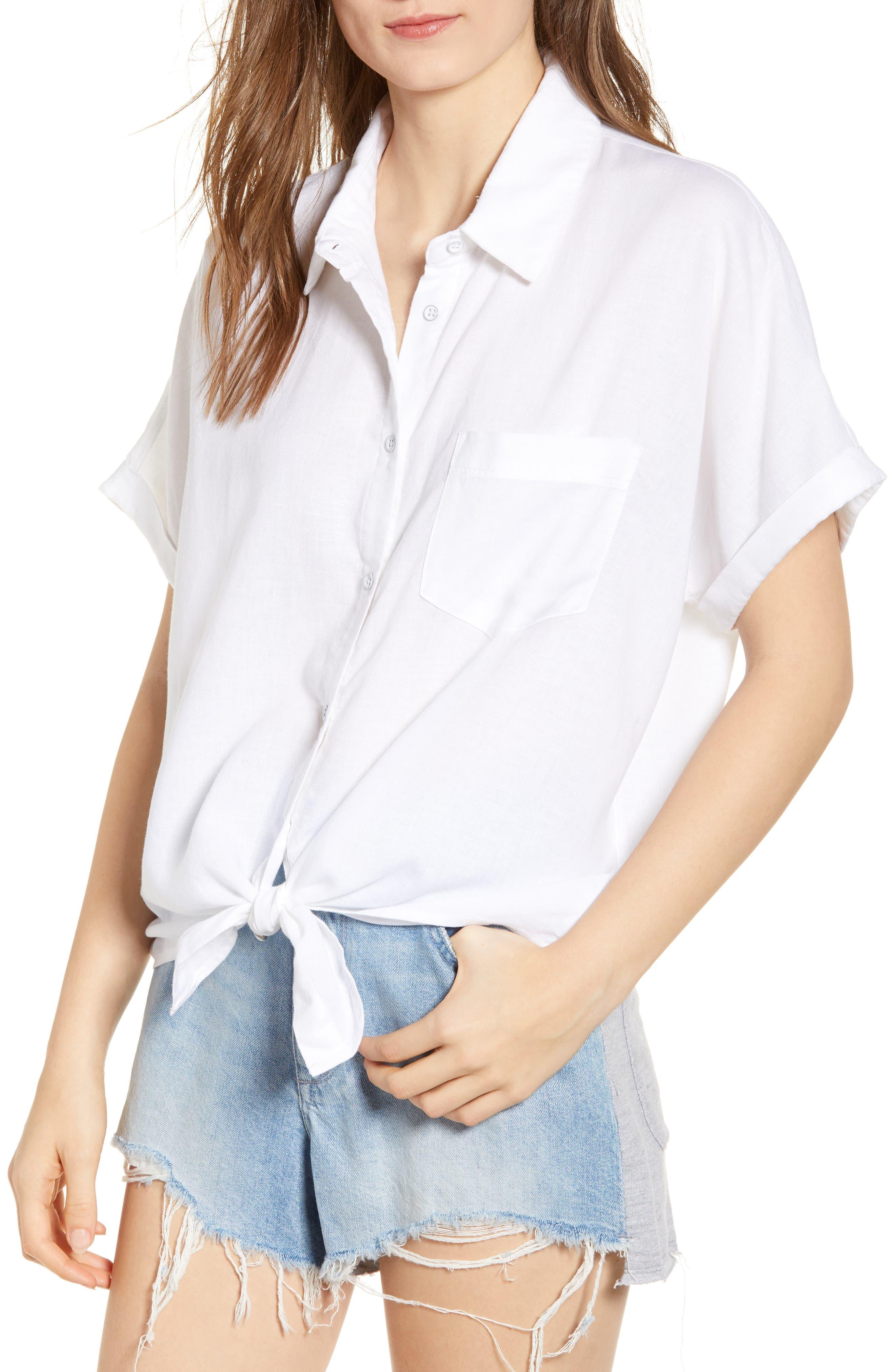 DL1961 Chrystie Tie Waist Shirt, Main, color, WHITE