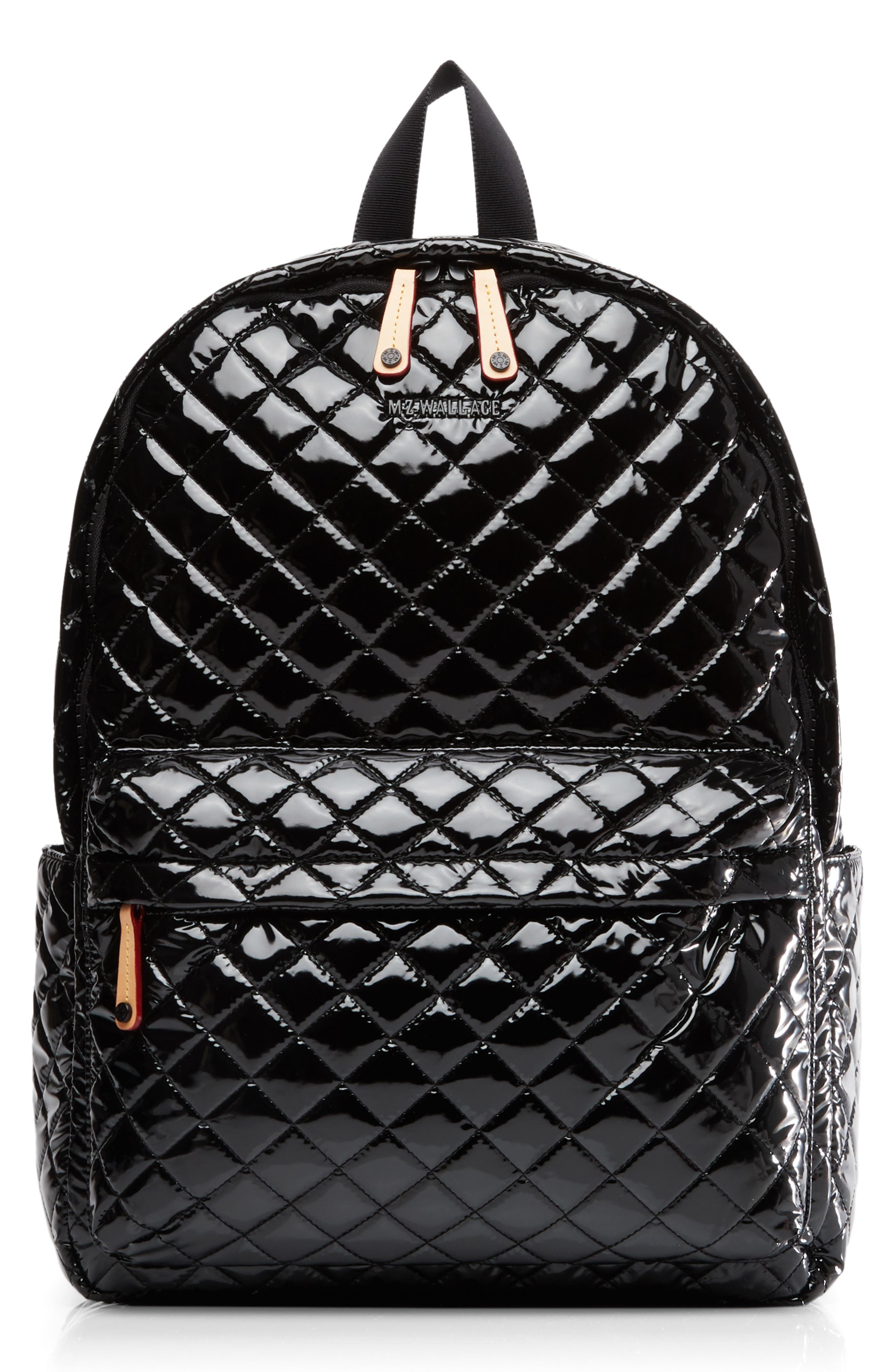 MZ WALLACE, Metro Backpack, Alternate thumbnail 2, color, BLACK LACQUER QUILTED