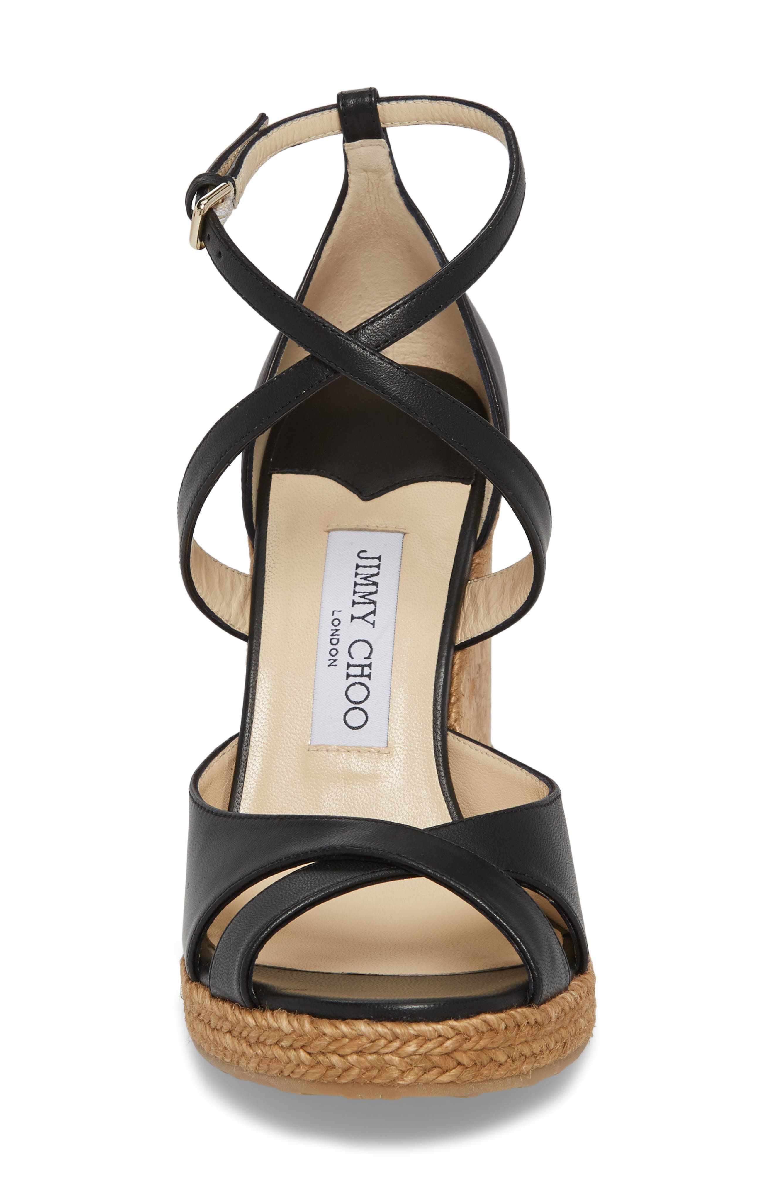 JIMMY CHOO, Alanah Espadrille Wedge Sandal, Alternate thumbnail 4, color, BLACK