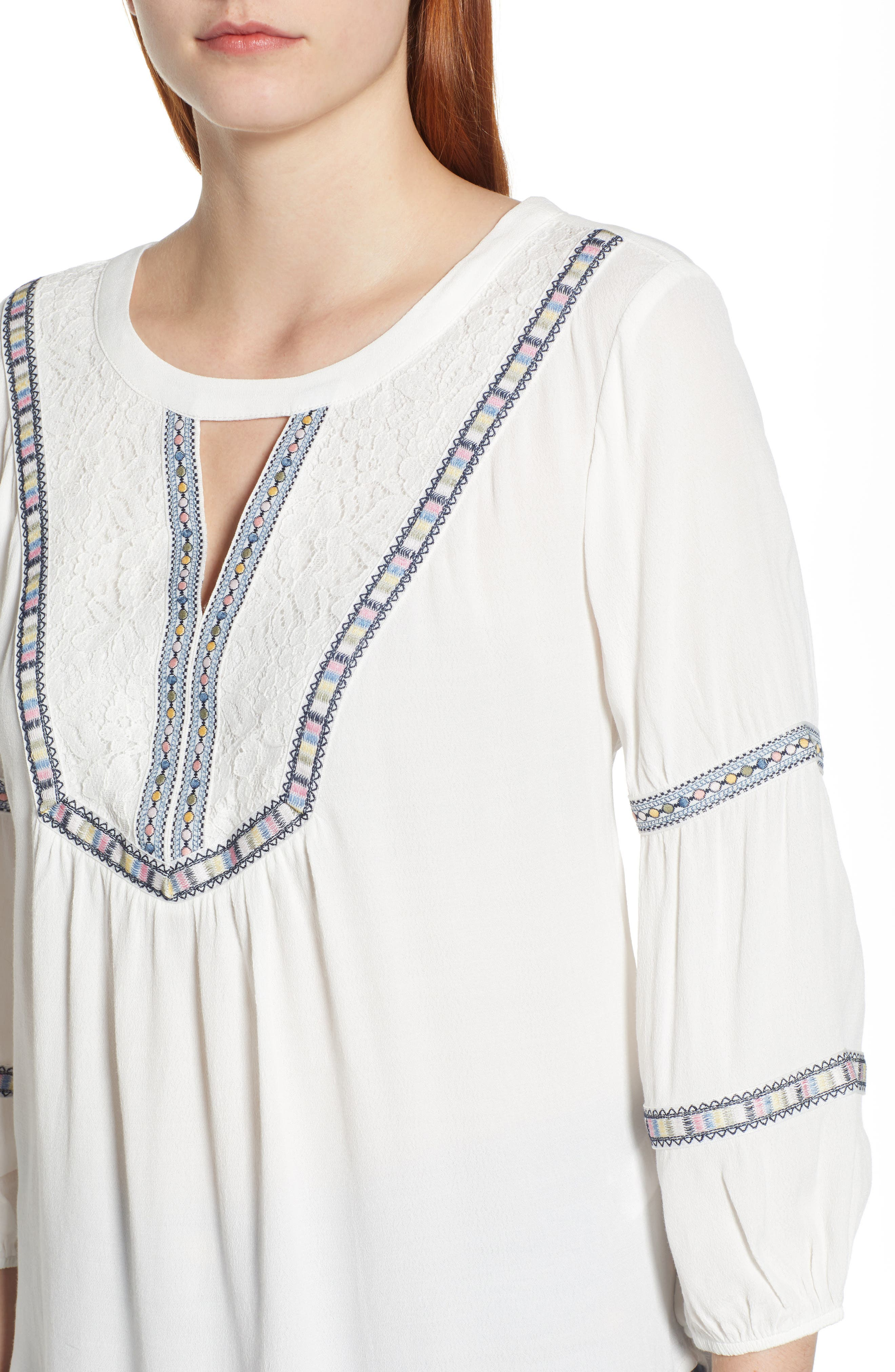 WIT & WISDOM, Embroidered Tunic, Alternate thumbnail 4, color, OFF WHITE
