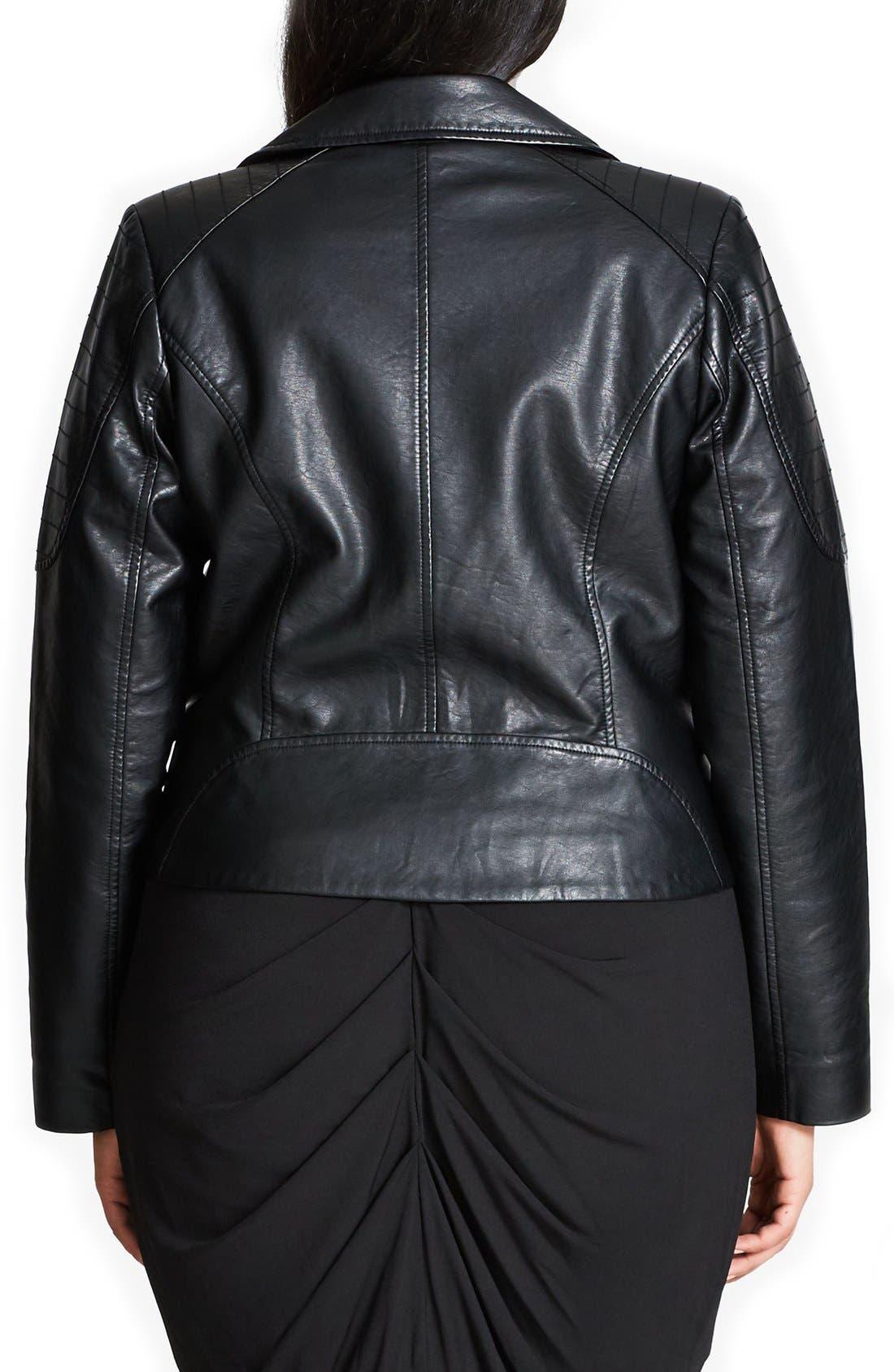 CITY CHIC, Faux Leather Biker Jacket, Alternate thumbnail 4, color, BLACK