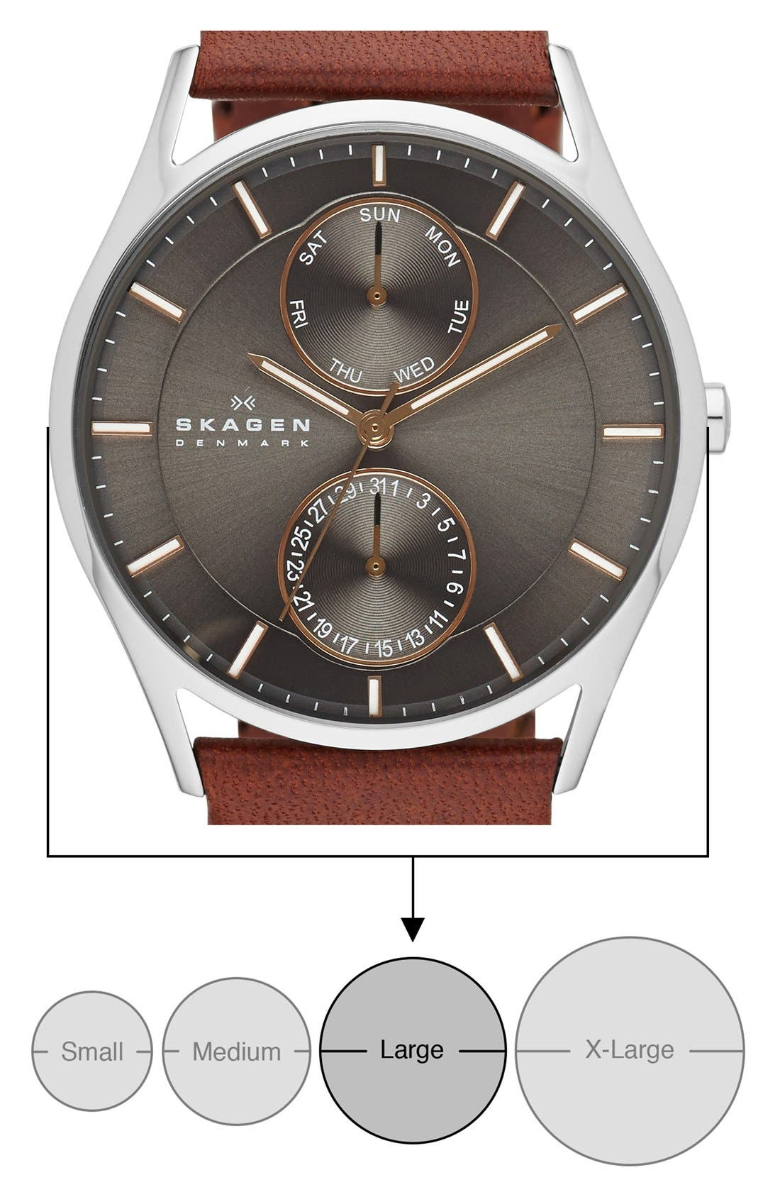 SKAGEN, 'Holst' Multifunction Leather Strap Watch, 40mm, Alternate thumbnail 5, color, SADDLE/ CHARCOAL