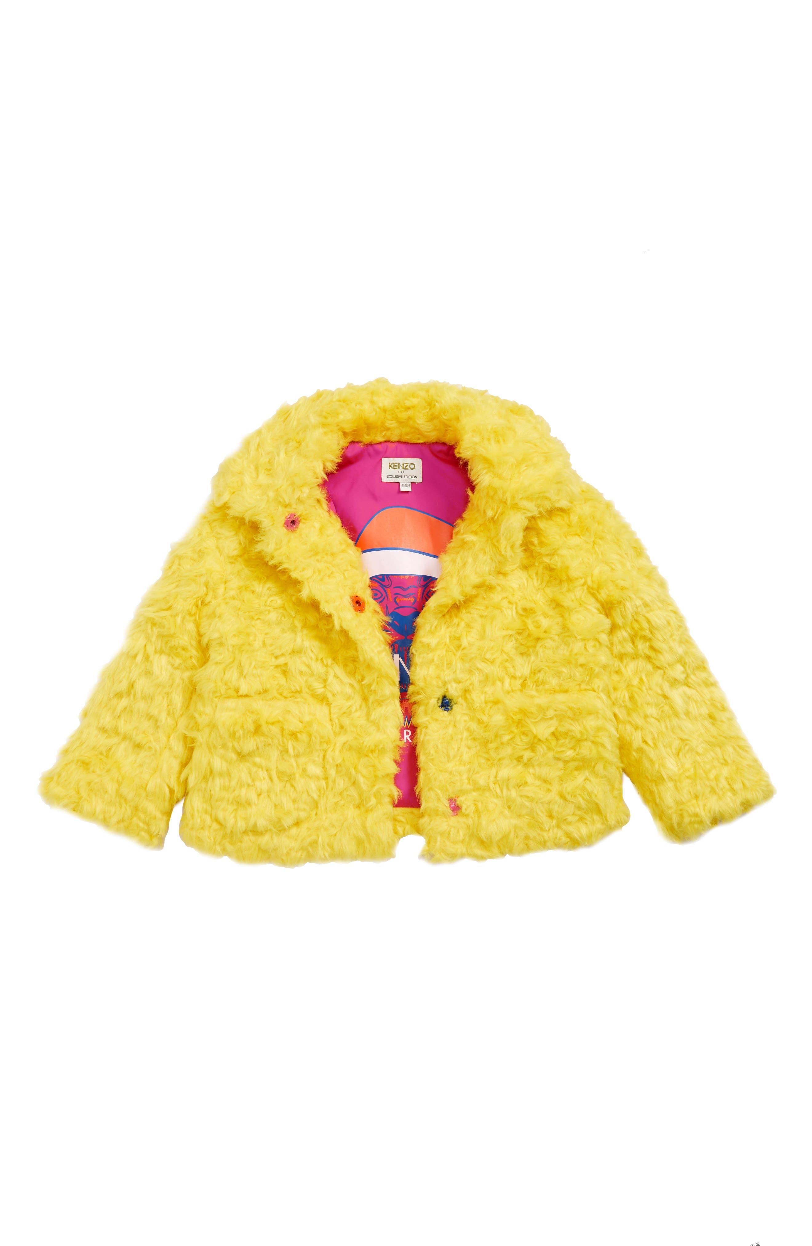 KENZO, Party Faux Fur Coat, Main thumbnail 1, color, CHROME