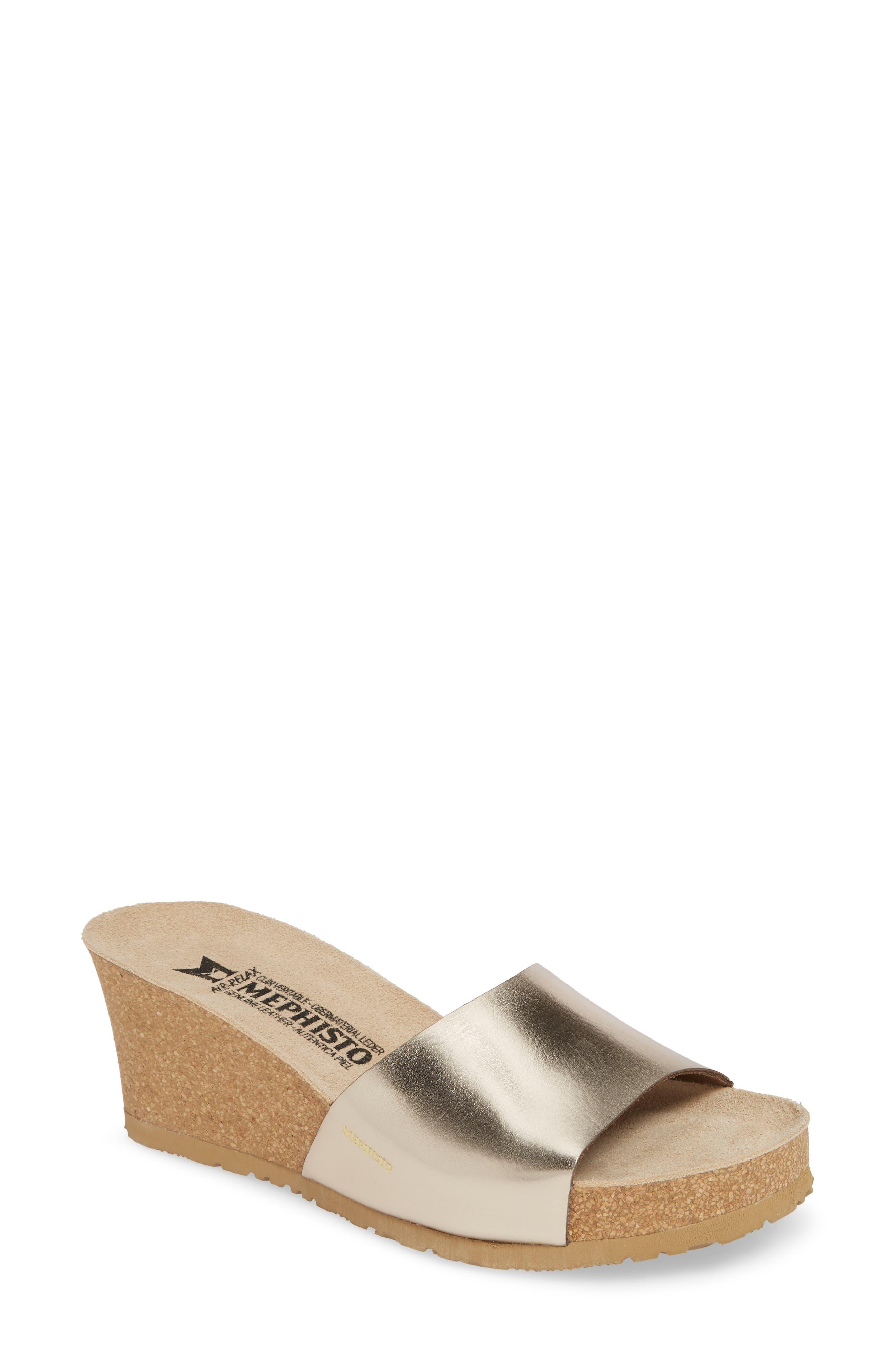 MEPHISTO Lise Platform Wedge Sandal, Main, color, PLATINUM LEATHER