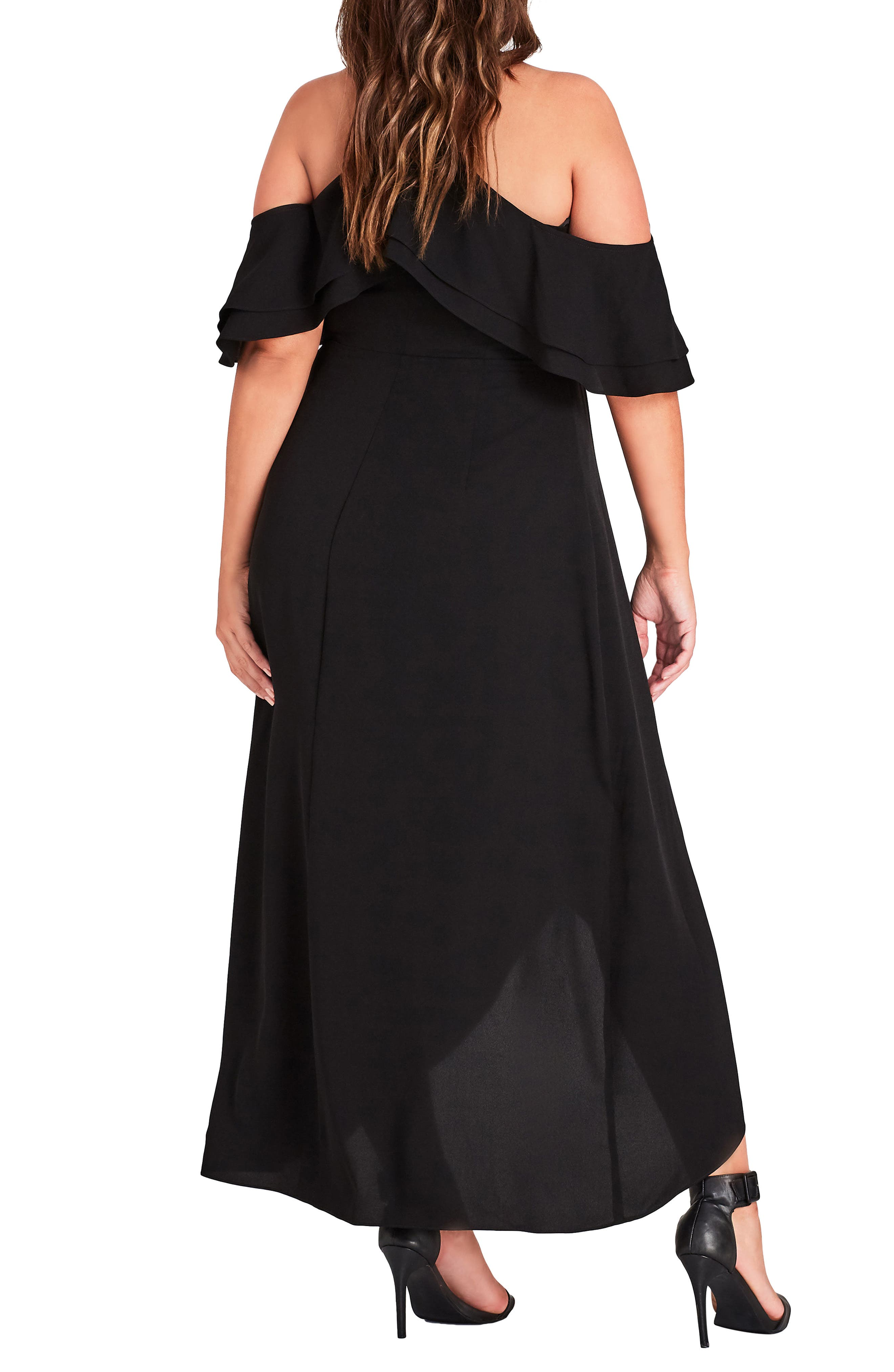CITY CHIC, Miss Jessica Maxi Dress, Alternate thumbnail 2, color, BLACK