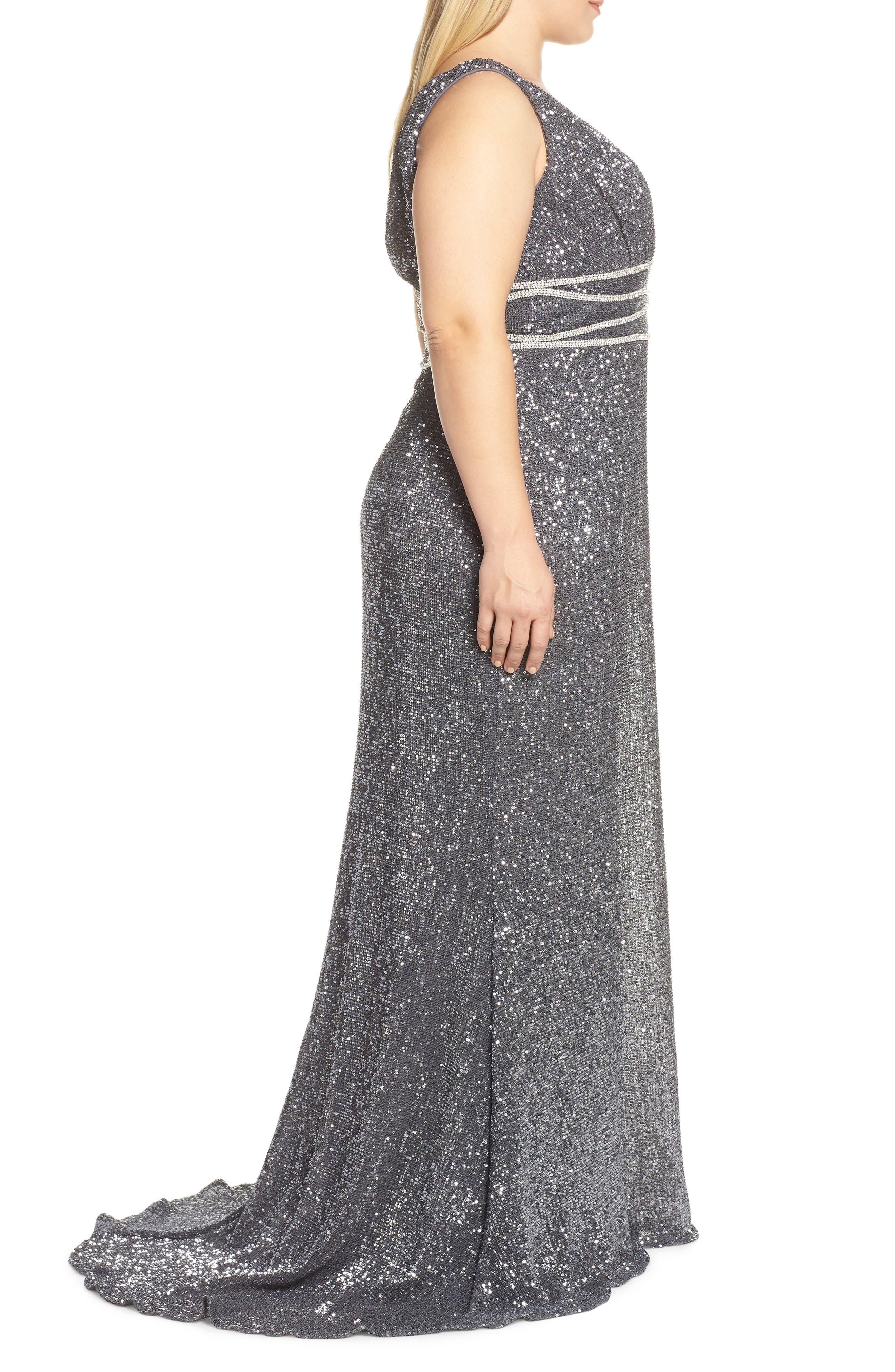 MAC DUGGAL, Beaded Waist Sequin Evening Dress, Alternate thumbnail 4, color, CHARCOAL
