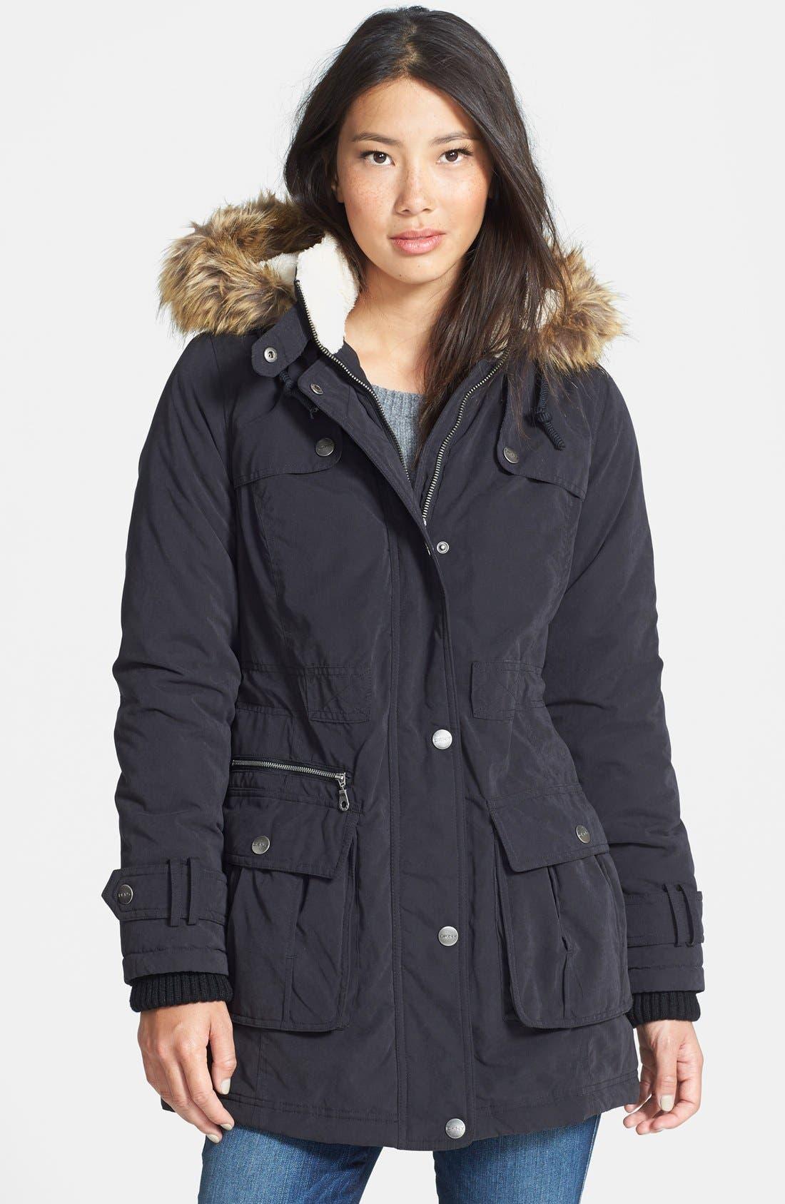 DKNY Faux Fur Trim Anorak, Main, color, 001