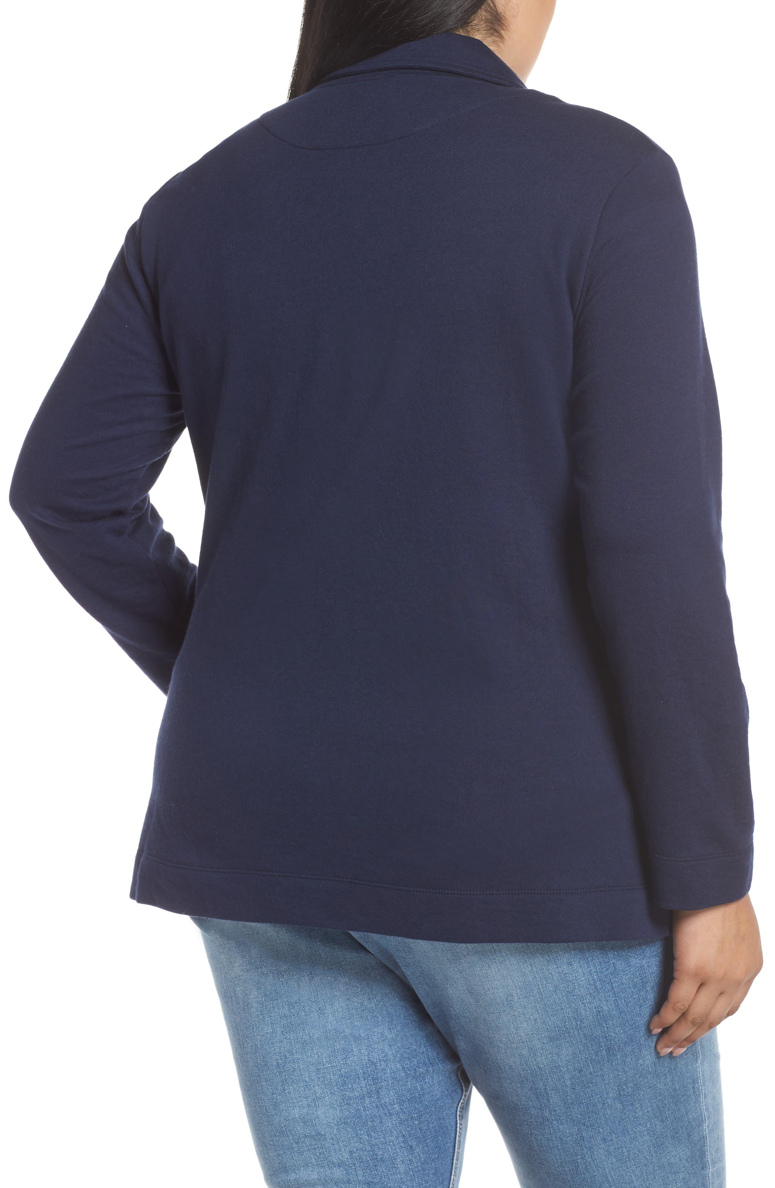 CASLON<SUP>®</SUP>, Double Pocket Knit Blazer, Alternate thumbnail 2, color, NAVY PEACOAT