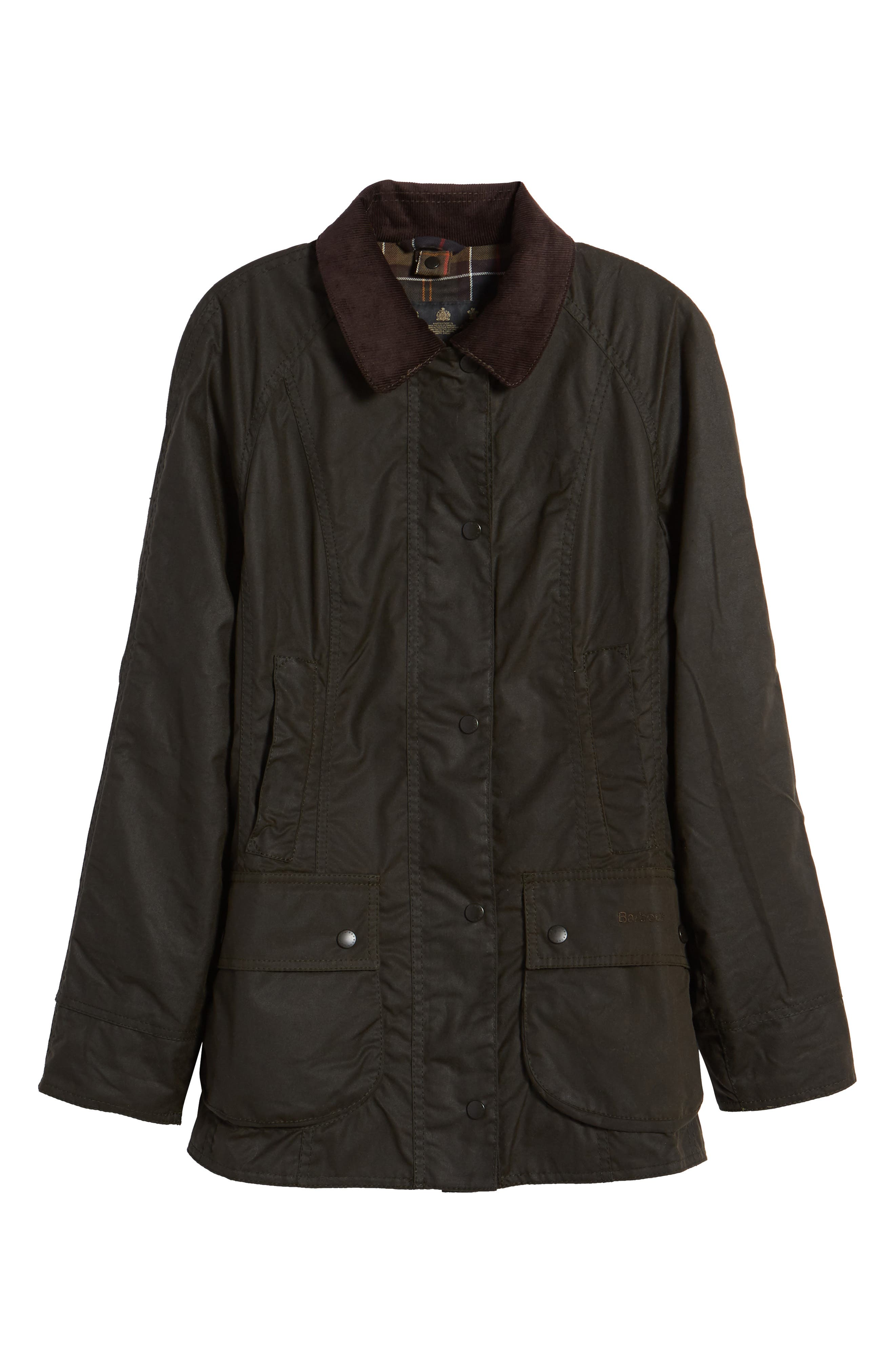 BARBOUR, Beadnell Waxed Cotton Jacket, Alternate thumbnail 6, color, 300