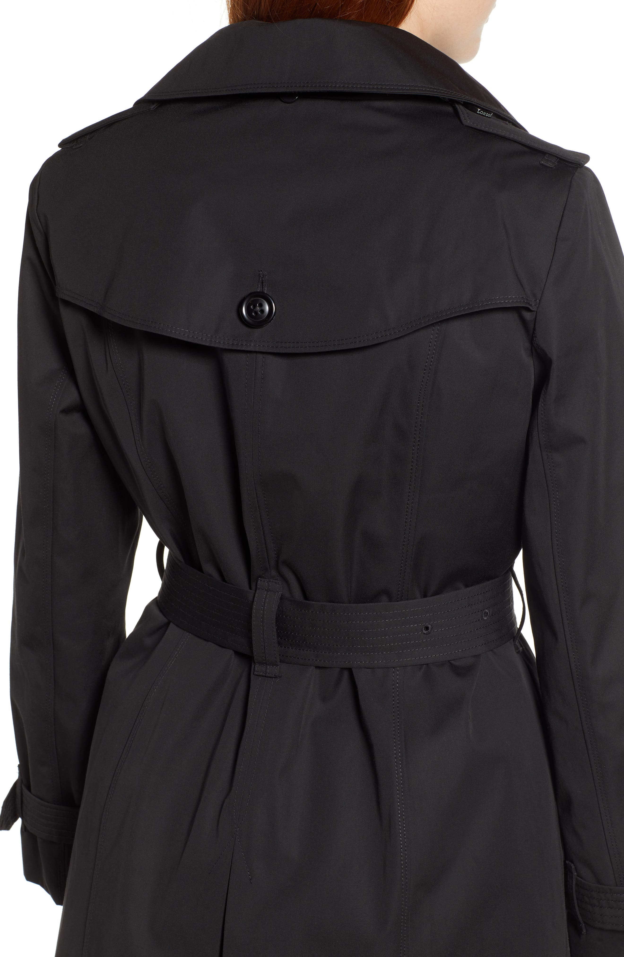 LONDON FOG, Trench Coat with Detachable Liner & Hood, Alternate thumbnail 5, color, BLACK