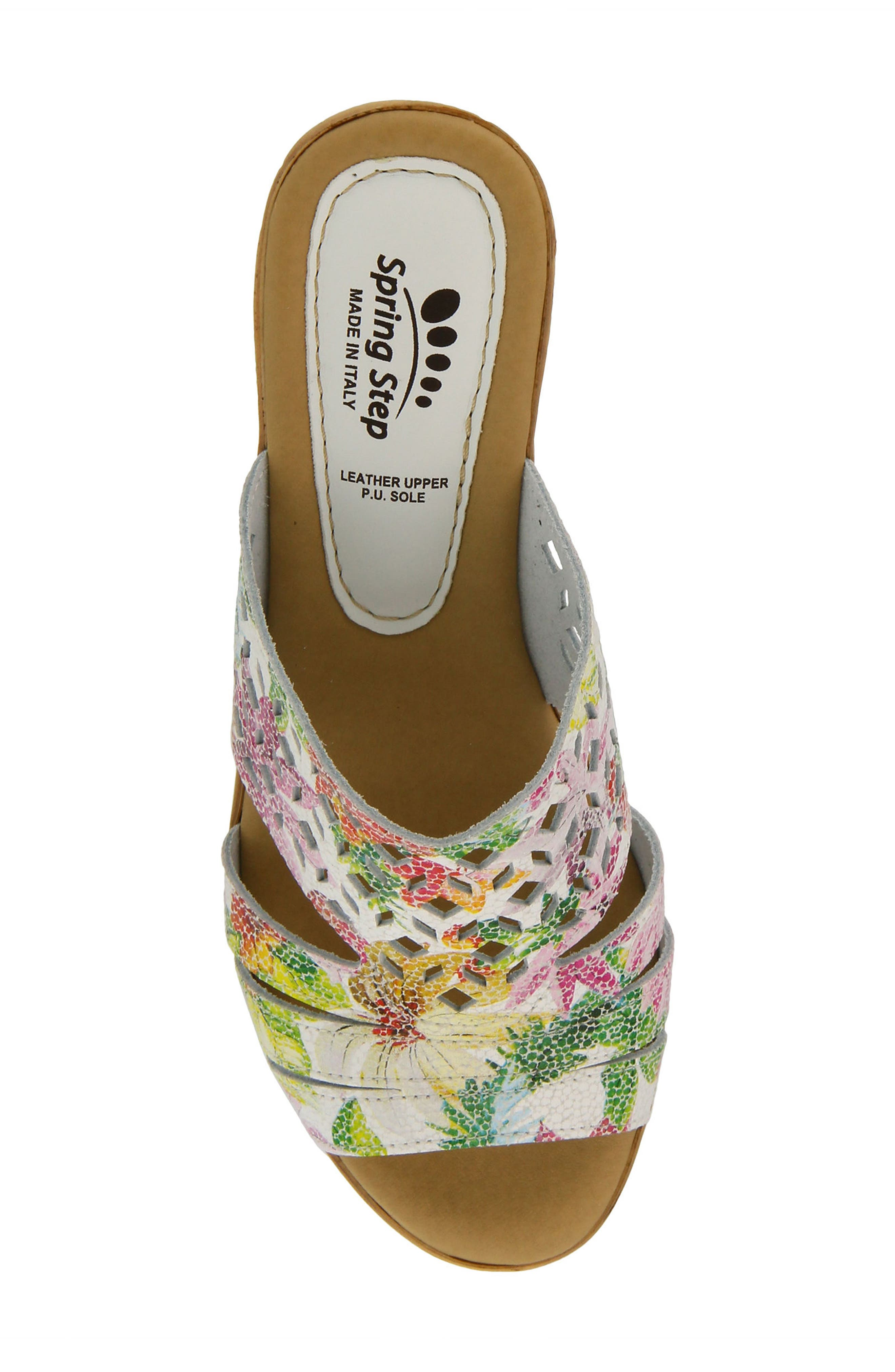 SPRING STEP, Viniko Platform Wedge Sandal, Alternate thumbnail 4, color, WHITE LEATHER