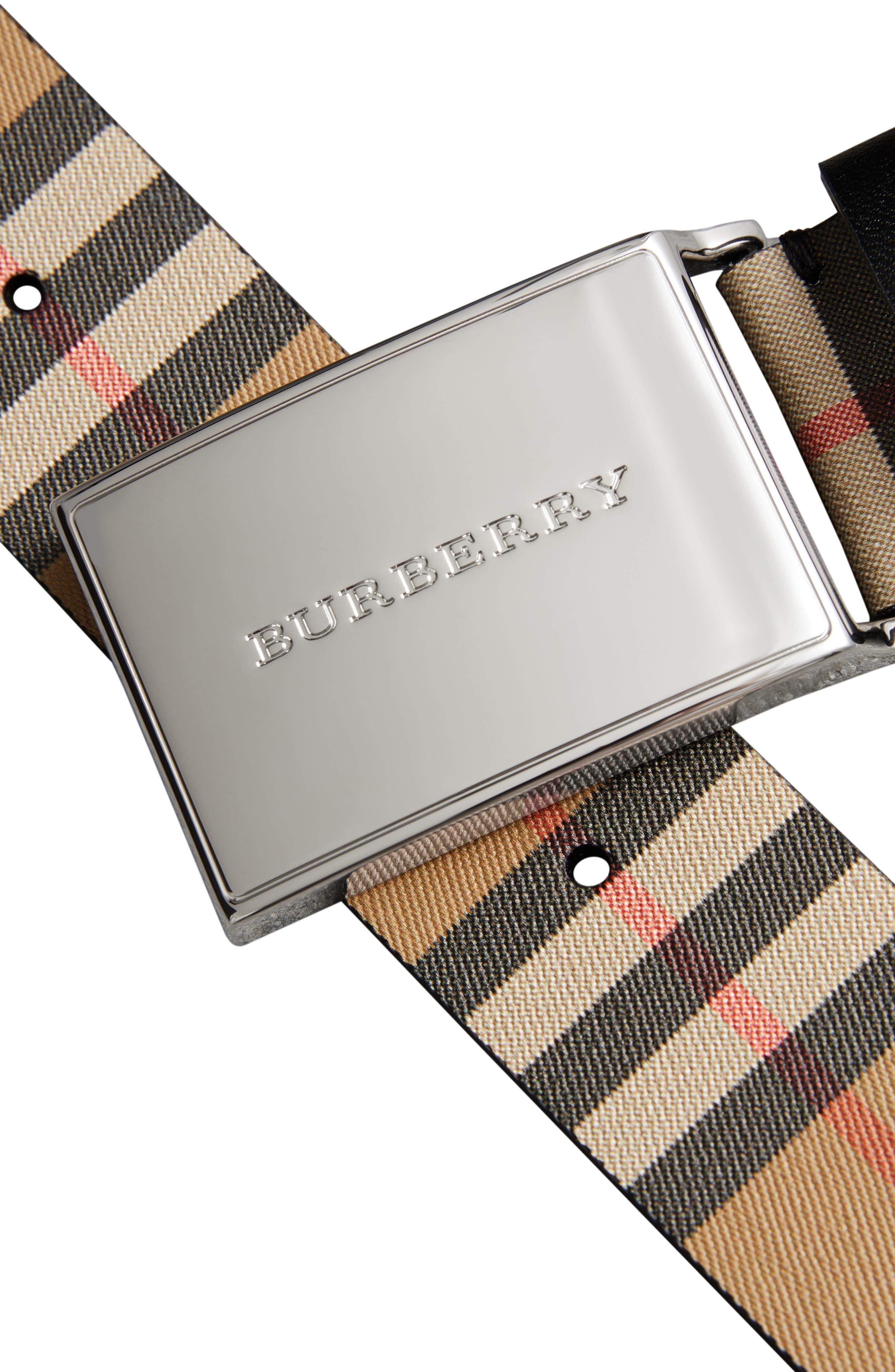 BURBERRY, Charles Check Belt, Alternate thumbnail 4, color, BLACK