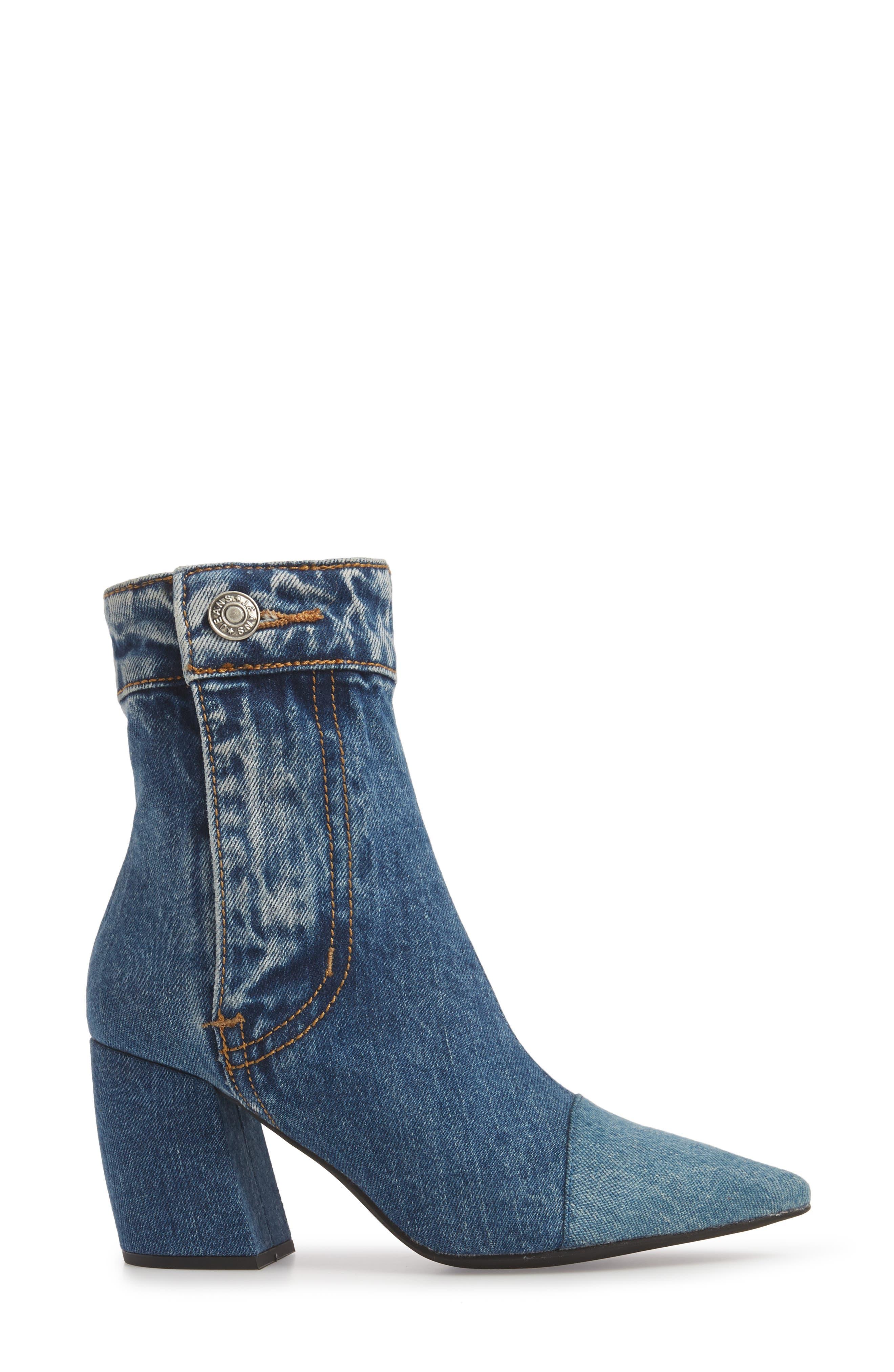 JEFFREY CAMPBELL, Finite Block Heel Bootie, Alternate thumbnail 3, color, BLUE DENIM
