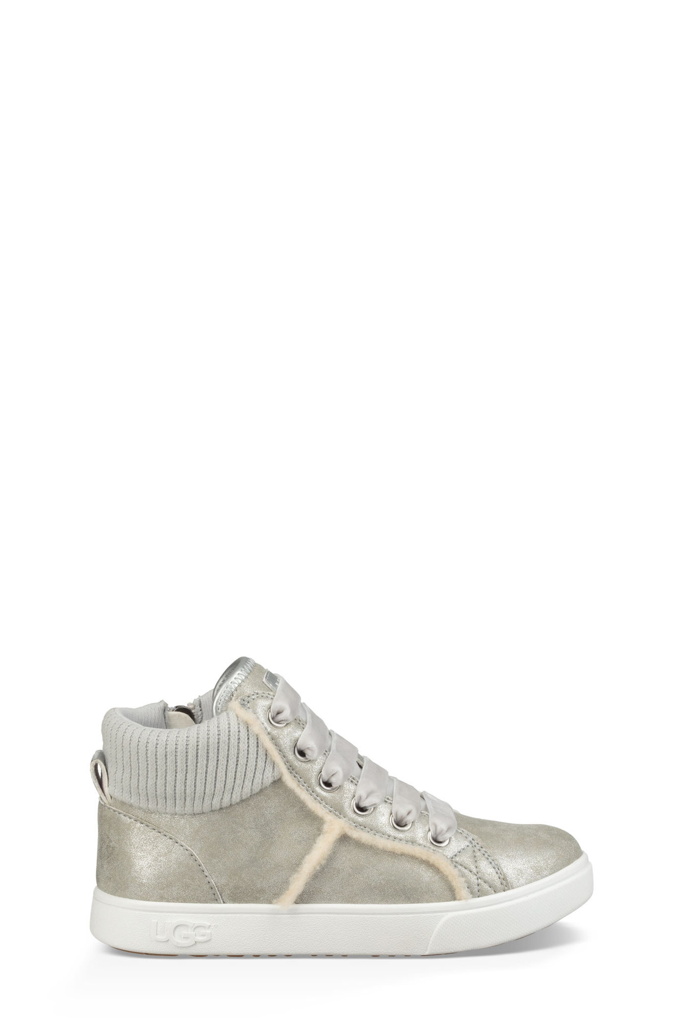 UGG<SUP>®</SUP>, Addie High Top Sneaker, Alternate thumbnail 2, color, SILVER