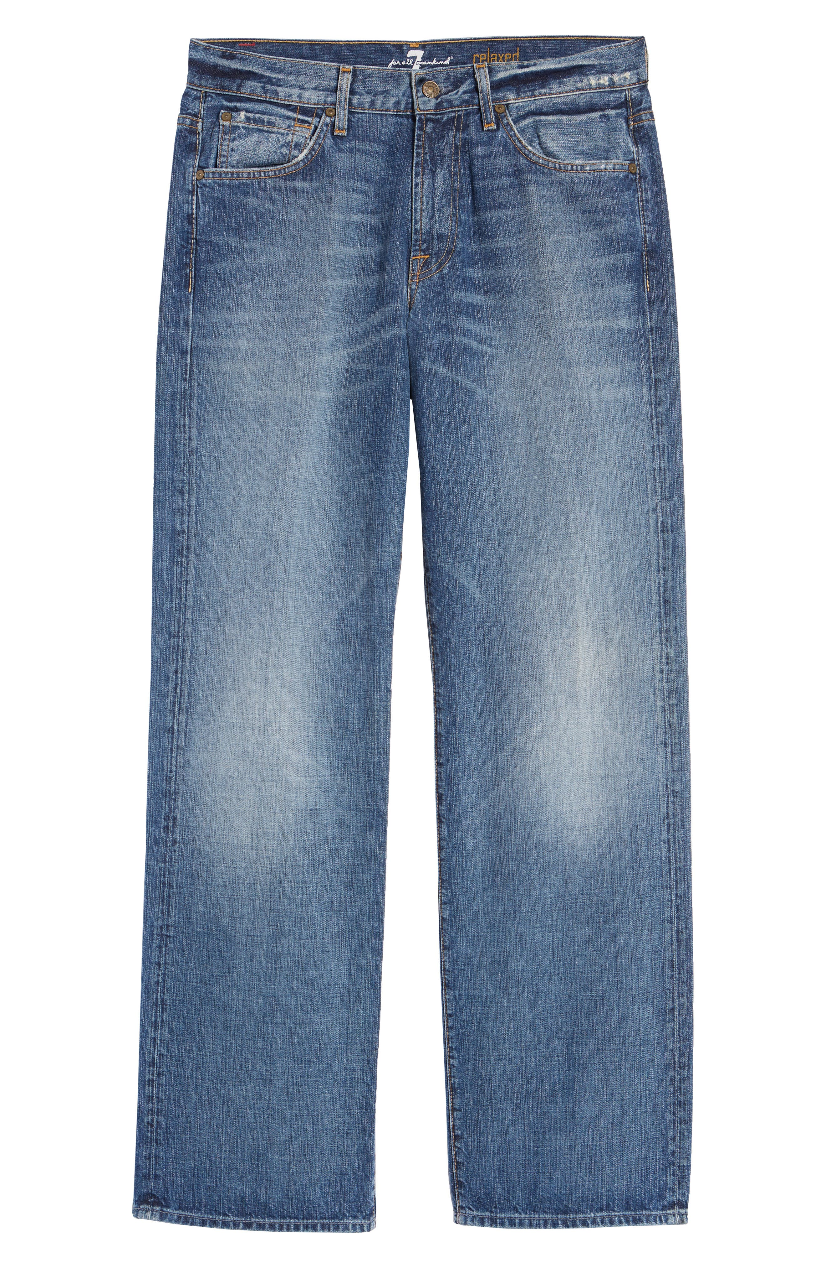 7 FOR ALL MANKIND<SUP>®</SUP>, Luxe Performance - Austyn Relaxed Straight Leg Jeans, Alternate thumbnail 2, color, NAKKITTA BLUE