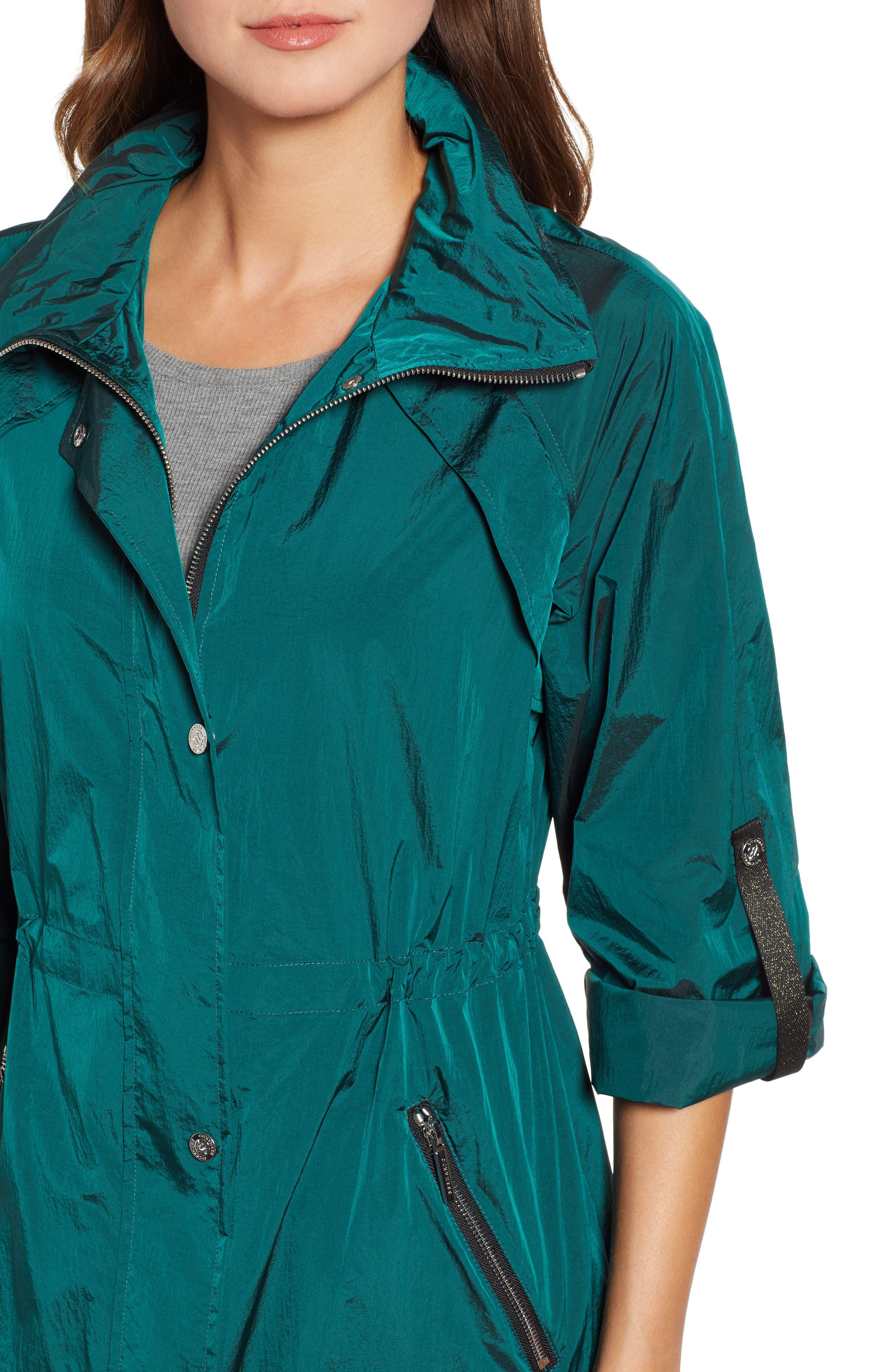 BERNARDO, Crinkle Nylon Long Hooded Parka, Alternate thumbnail 4, color, GREEN