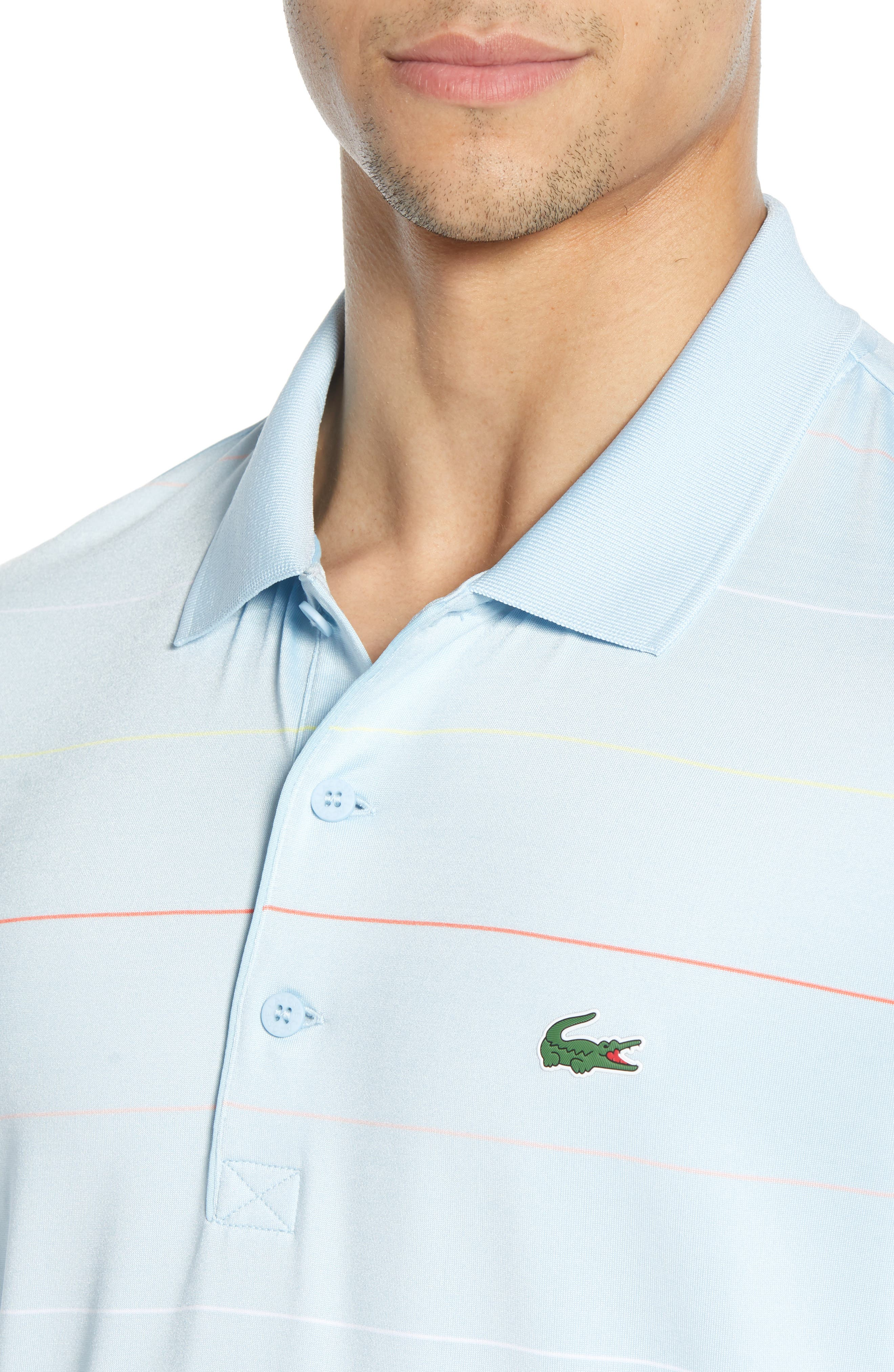 LACOSTE, Ultra Dry Regular Fit Tech Polo, Alternate thumbnail 4, color, DREAM BLUE/ MANGO
