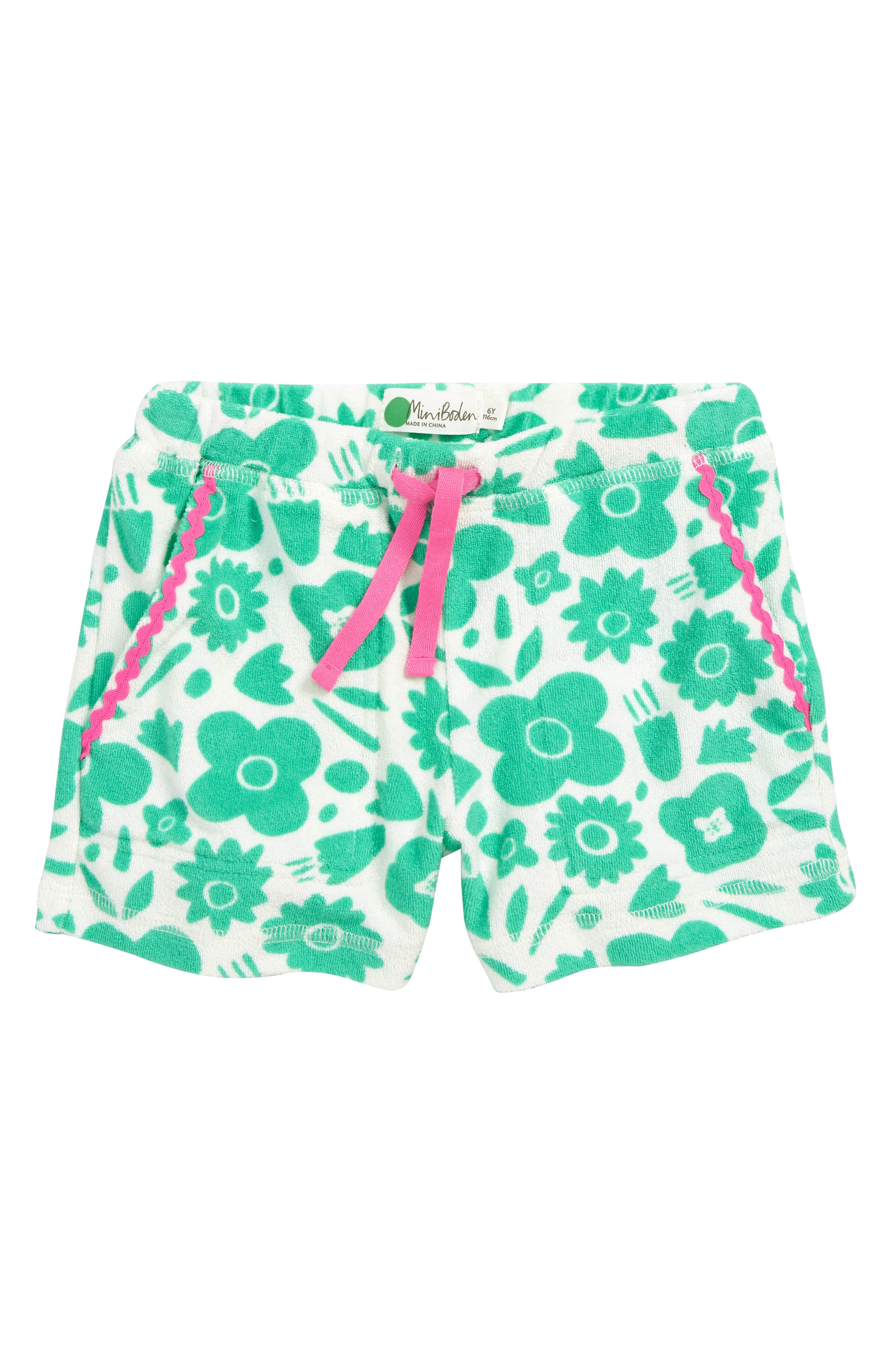 MINI BODEN, Terry Cloth Shorts, Main thumbnail 1, color, GRN JUNGLE GREEN POP FLORAL