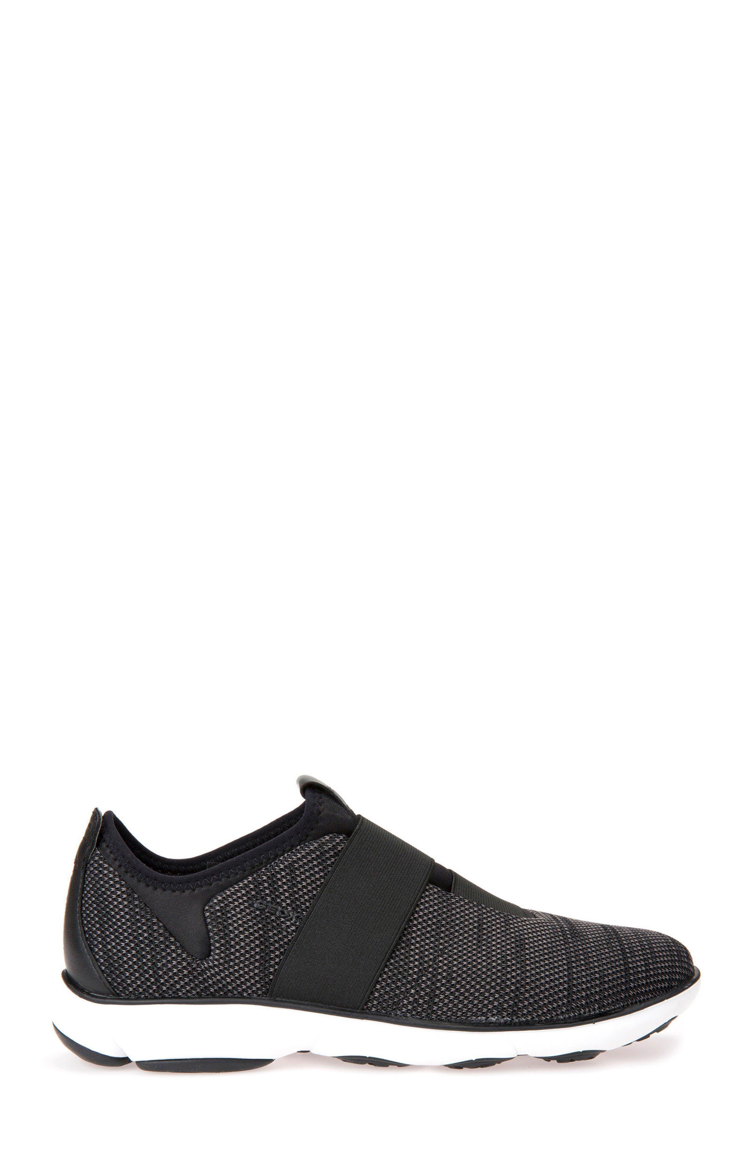 GEOX, Nebula 45 Banded Slip-On Sneaker, Alternate thumbnail 3, color, BLACK