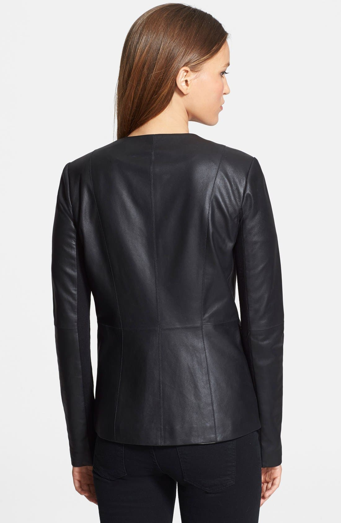 VEDA, 'Aires' Asymmetrical Zip Leather Jacket, Alternate thumbnail 3, color, 001