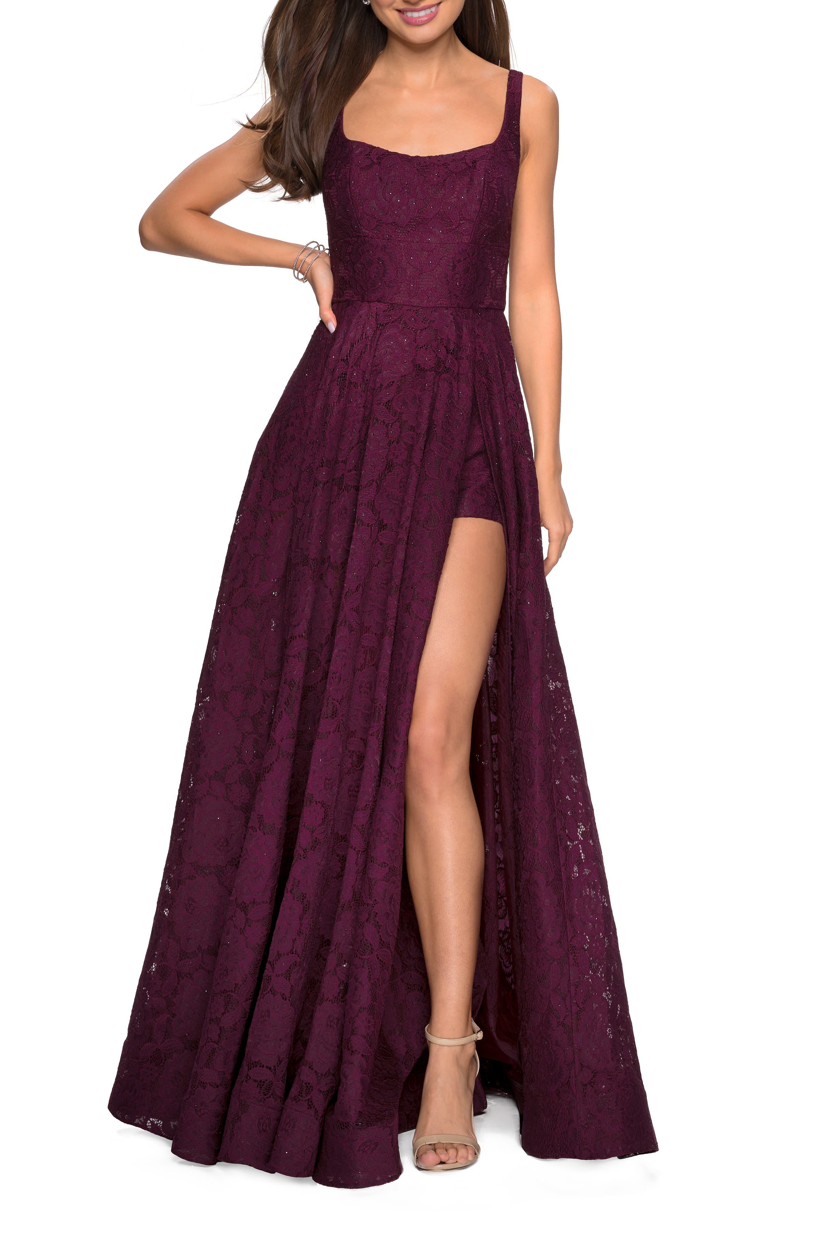 La Femme Front Slit Lace Evening Dress, Red