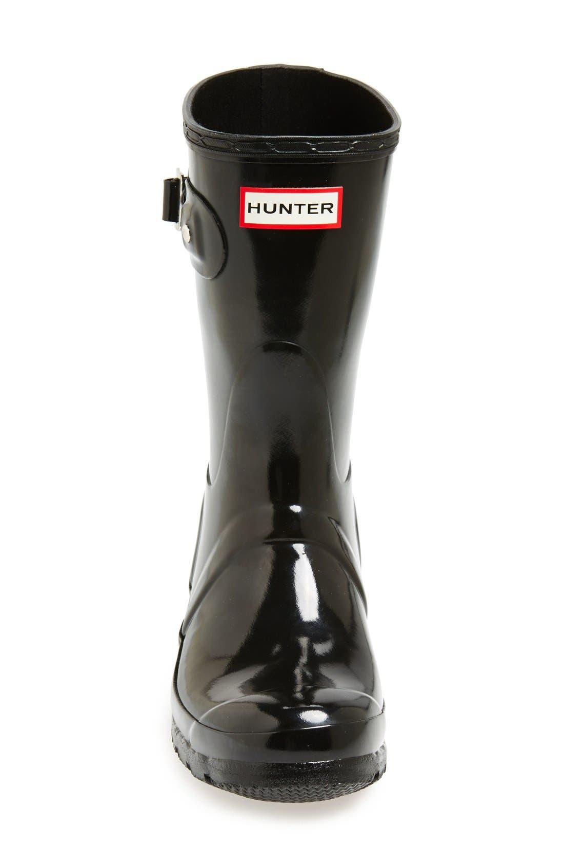 HUNTER, Original Short Gloss Waterproof Rain Boot, Alternate thumbnail 6, color, BLACK