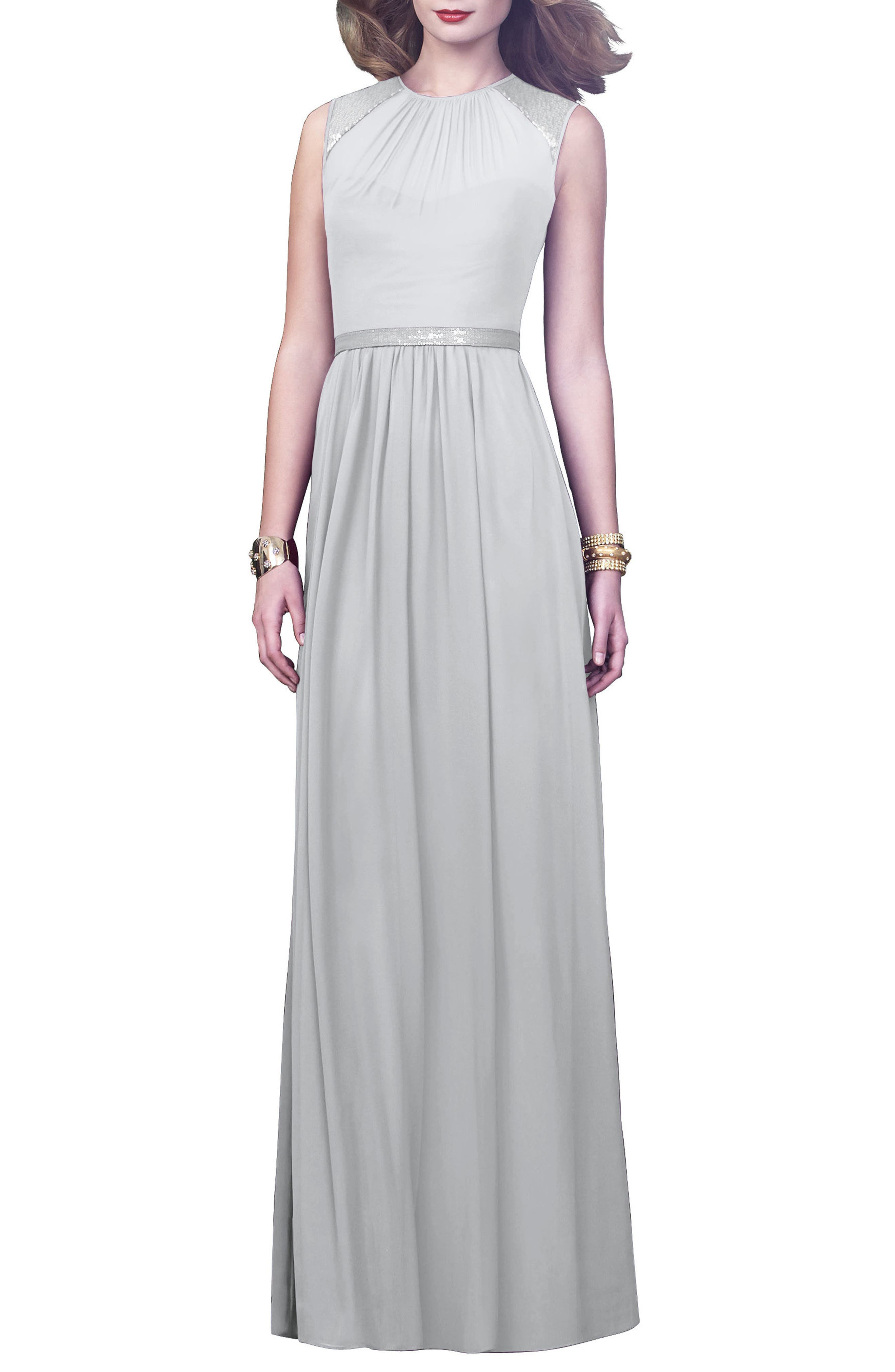 DESSY COLLECTION, Embellished Open Back Gown, Main thumbnail 1, color, FROST