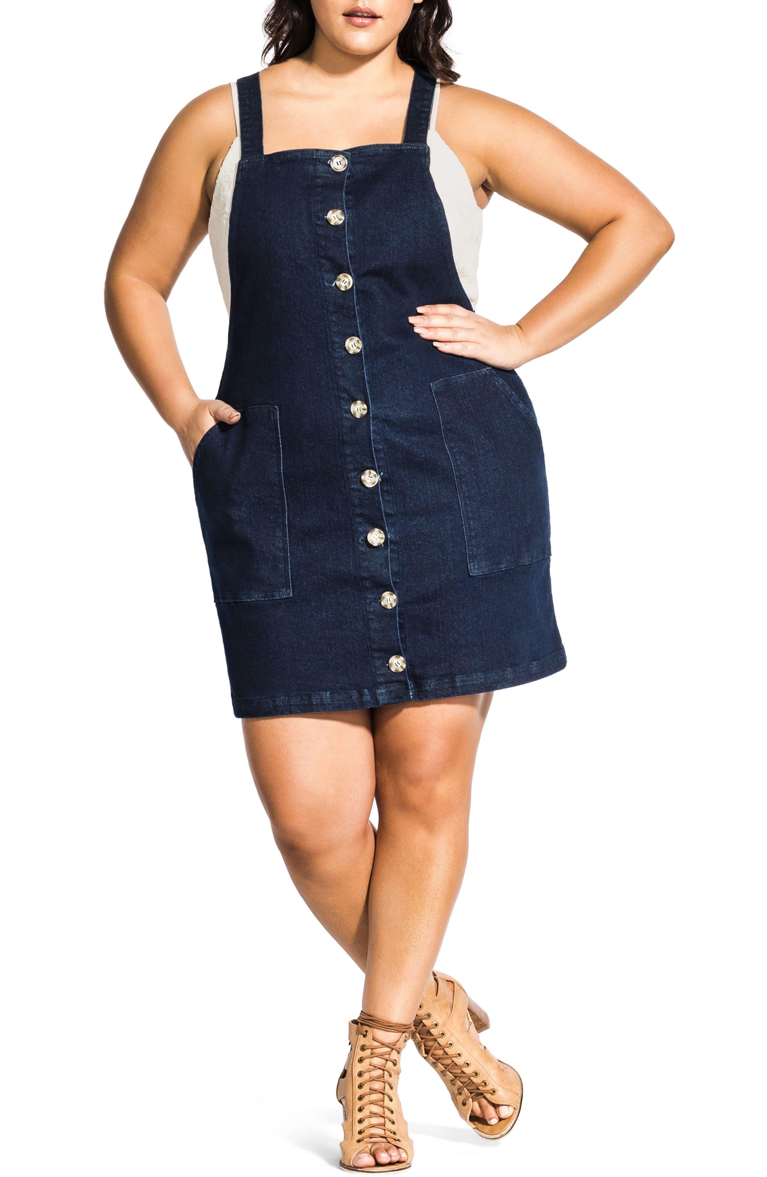 Plus Size City Chic Denim Overall Dress, Blue