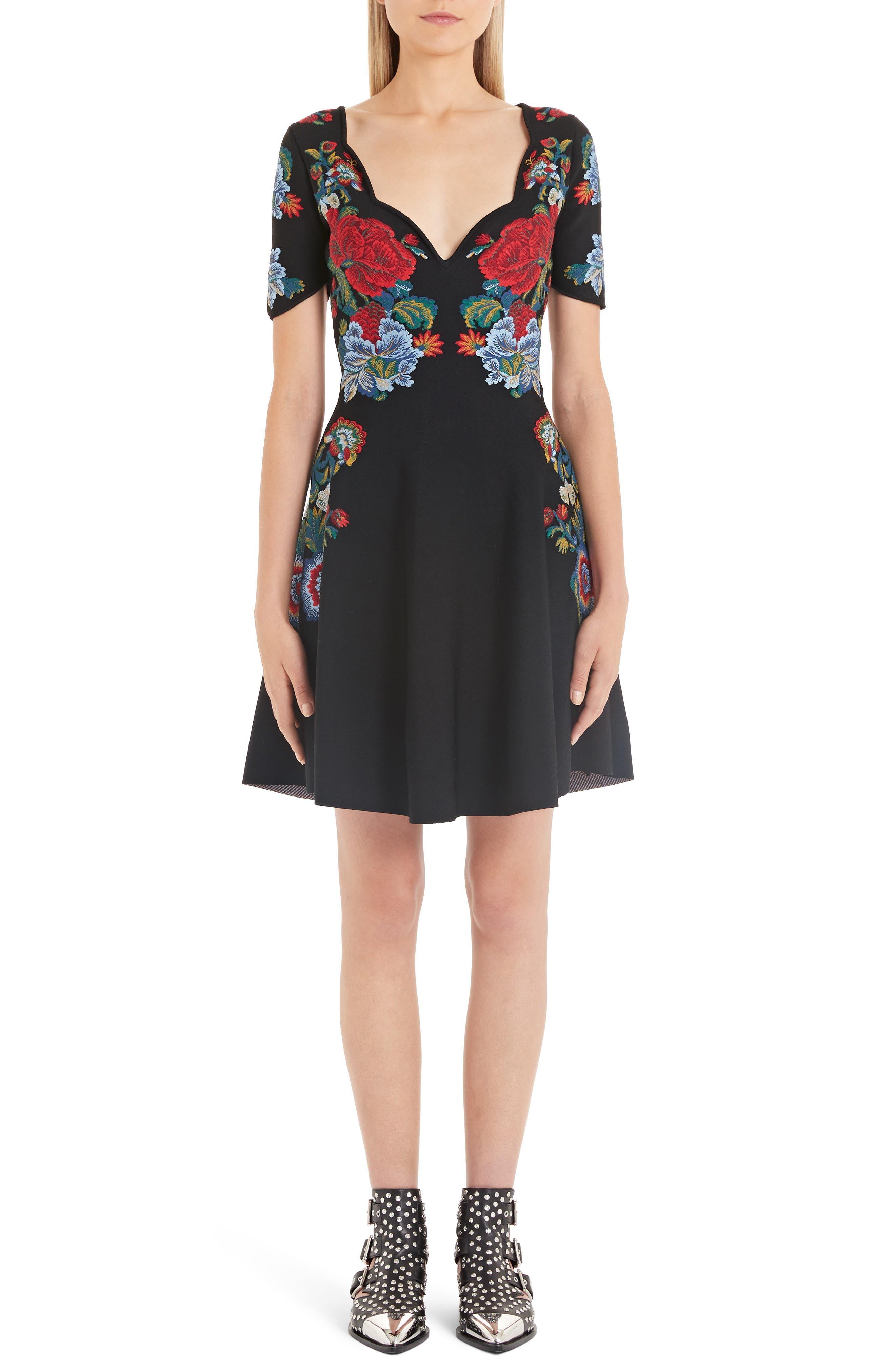 Alexander Mcqueen Floral Jacquard Fit & Flare Sweater Dress, Black