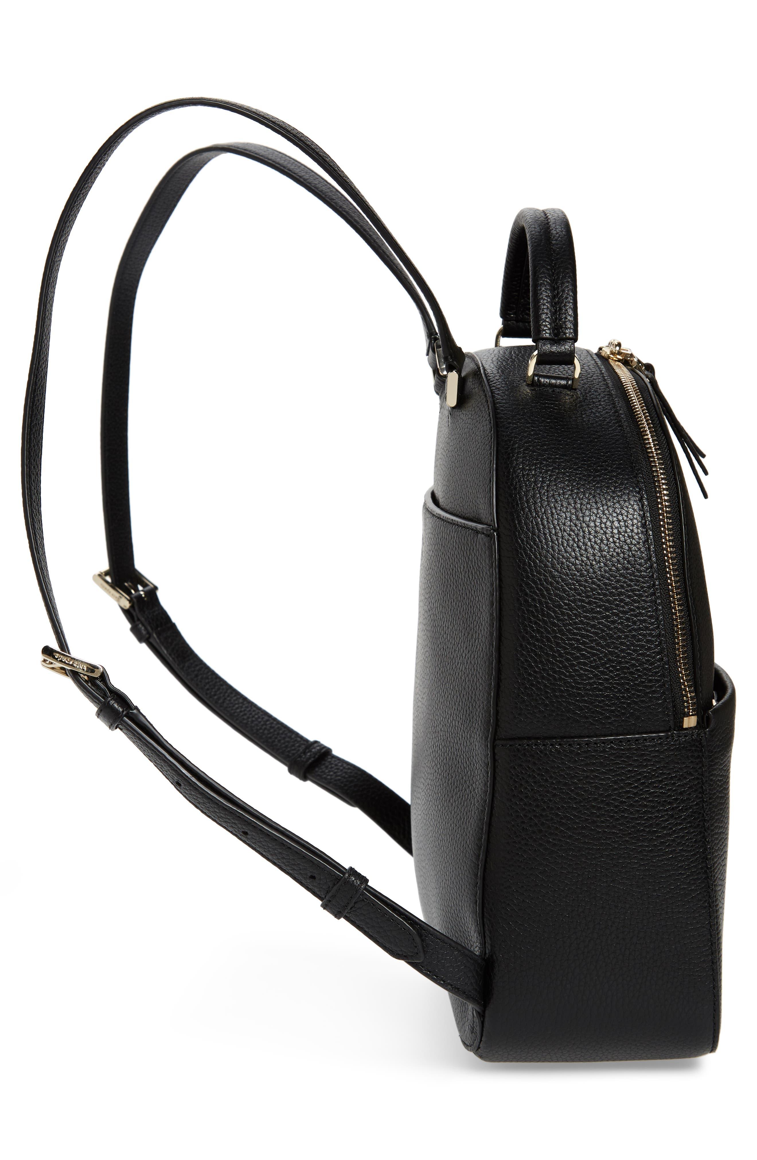 KATE SPADE NEW YORK, medium polly leather backpack, Alternate thumbnail 5, color, BLACK