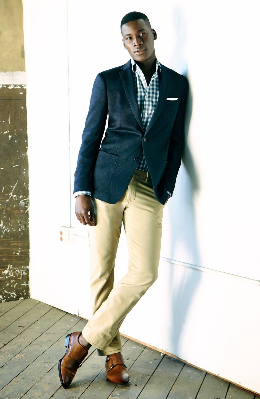 JOHN VARVATOS STAR USA, 'Fagan' Trim Fit Knit Sportcoat, Alternate thumbnail 5, color, 410