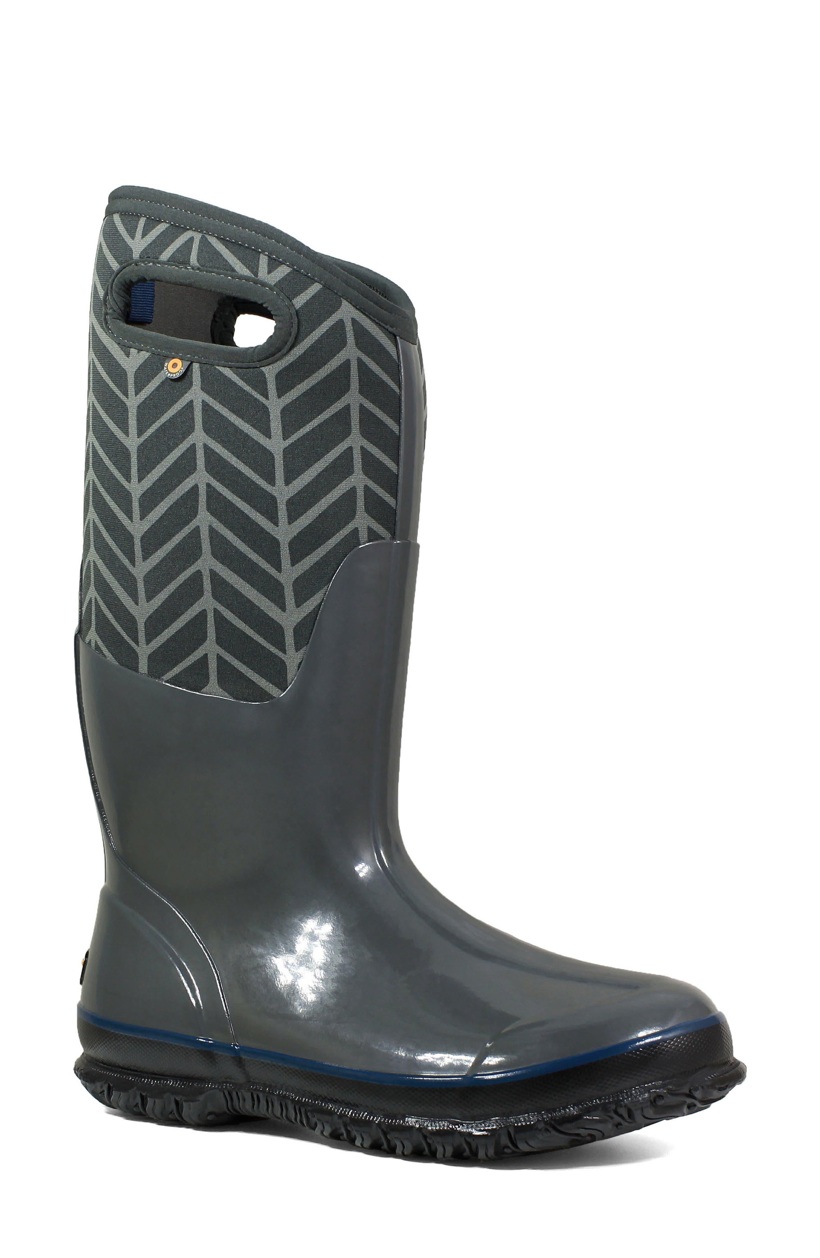BOGS Classic Tall Badge Waterproof Snow Boot, Main, color, DARK GREY MULTI