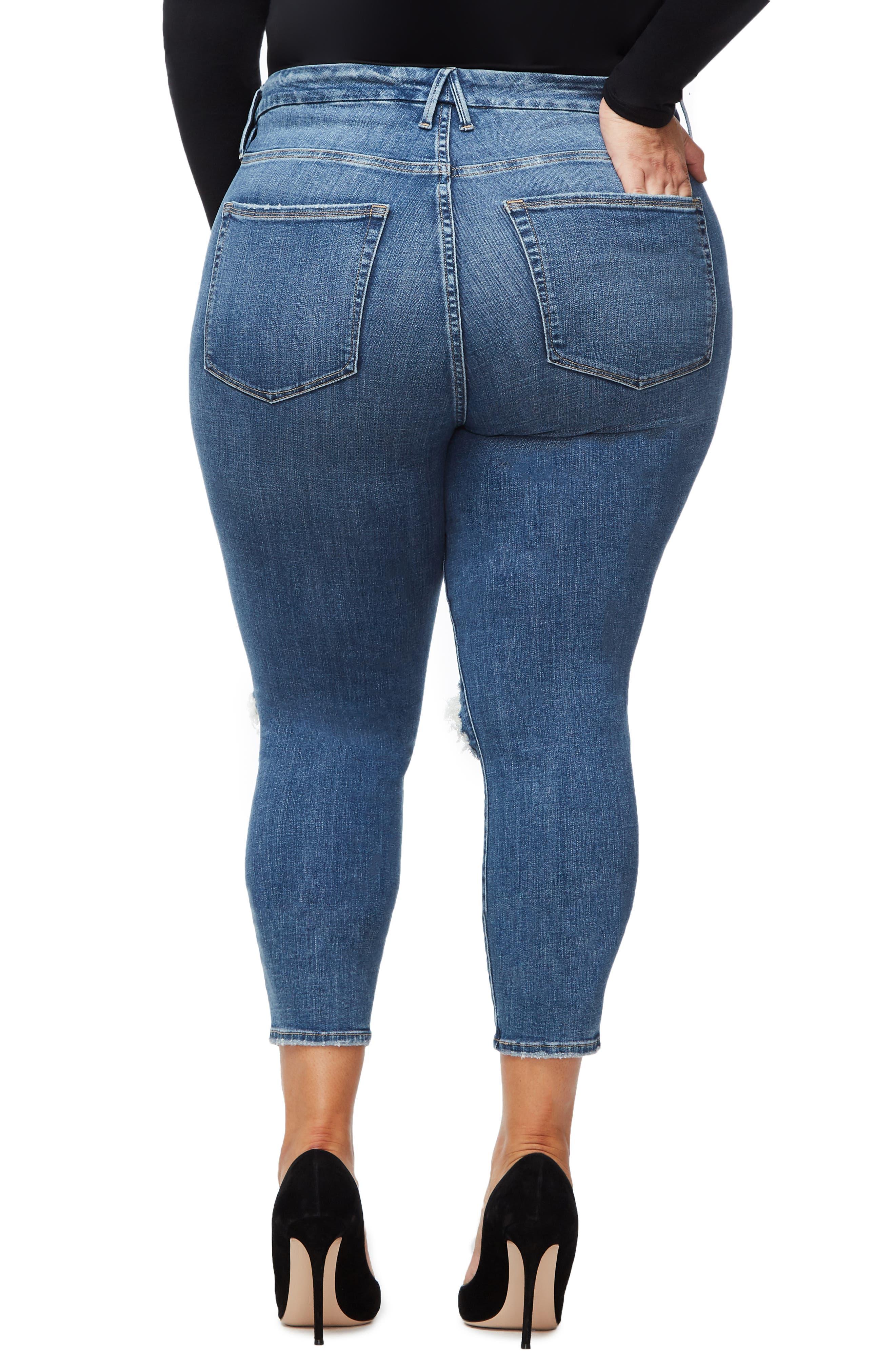 GOOD AMERICAN, Good Legs High Waist Crop Skinny Jeans, Alternate thumbnail 6, color, BLUE 261