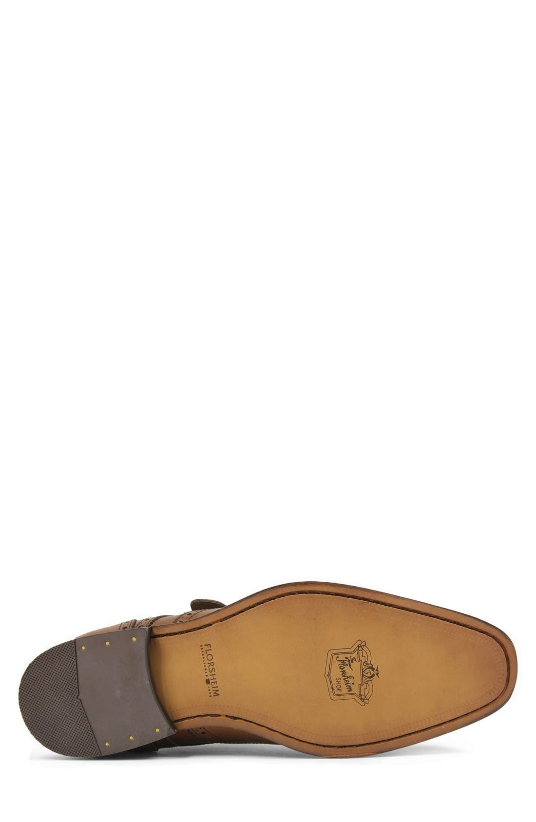FLORSHEIM, 'Sabato' Wingtip Monk Strap Shoe, Alternate thumbnail 4, color, MEDIUM BROWN