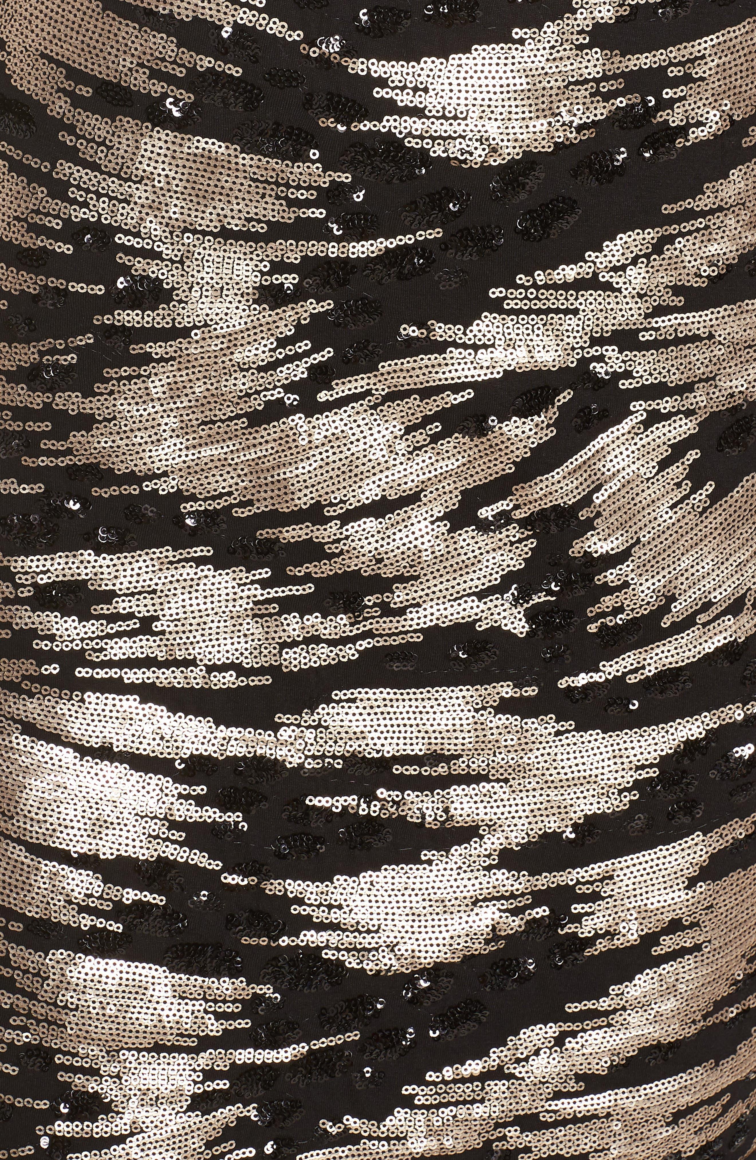 ELIZA J, Sequin Sheath Dress, Alternate thumbnail 6, color, BLACK/ GOLD