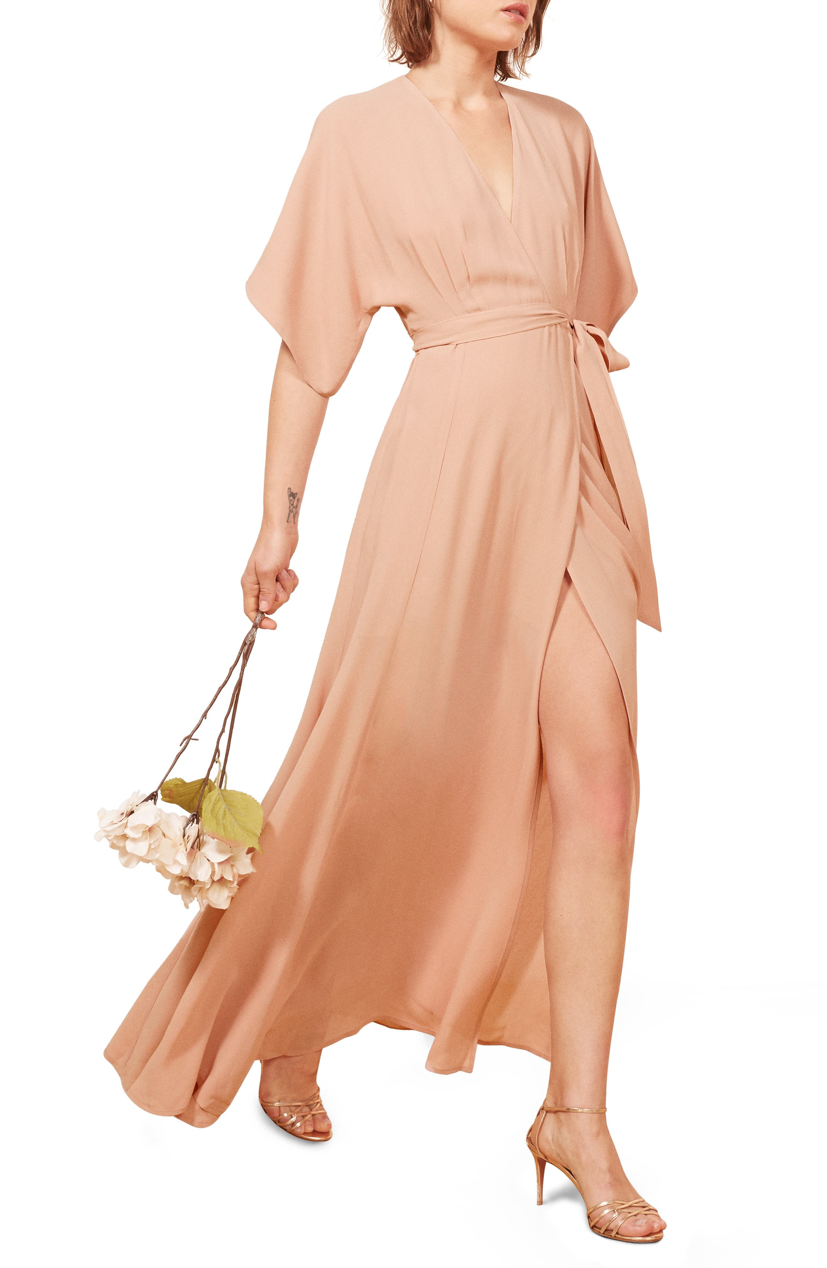 REFORMATION Winslow Maxi Dress, Main, color, BLUSH