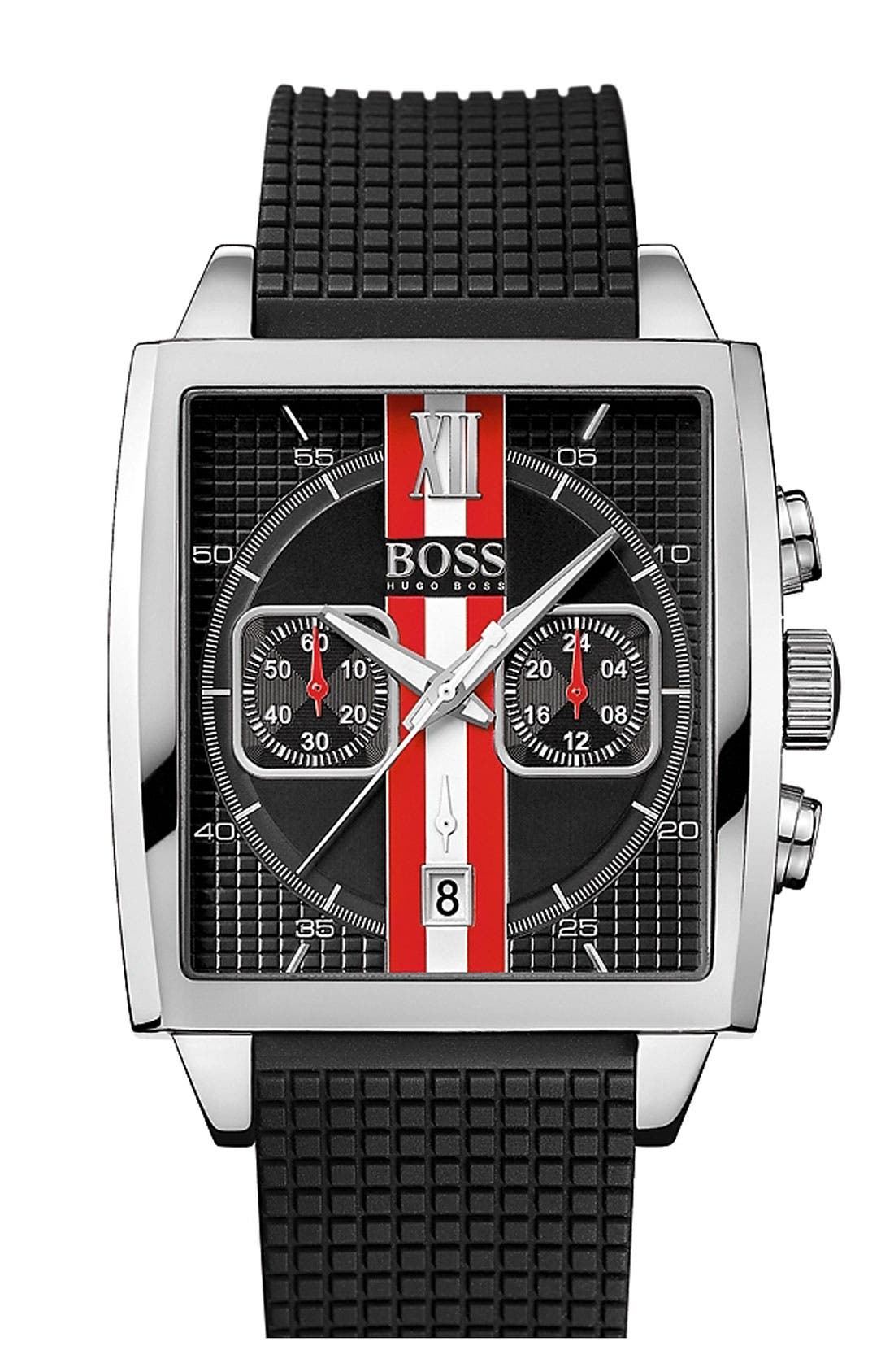 BOSS, 'HB1005' Multifunction Square Dial Strap Watch, 39mm, Main thumbnail 1, color, 001