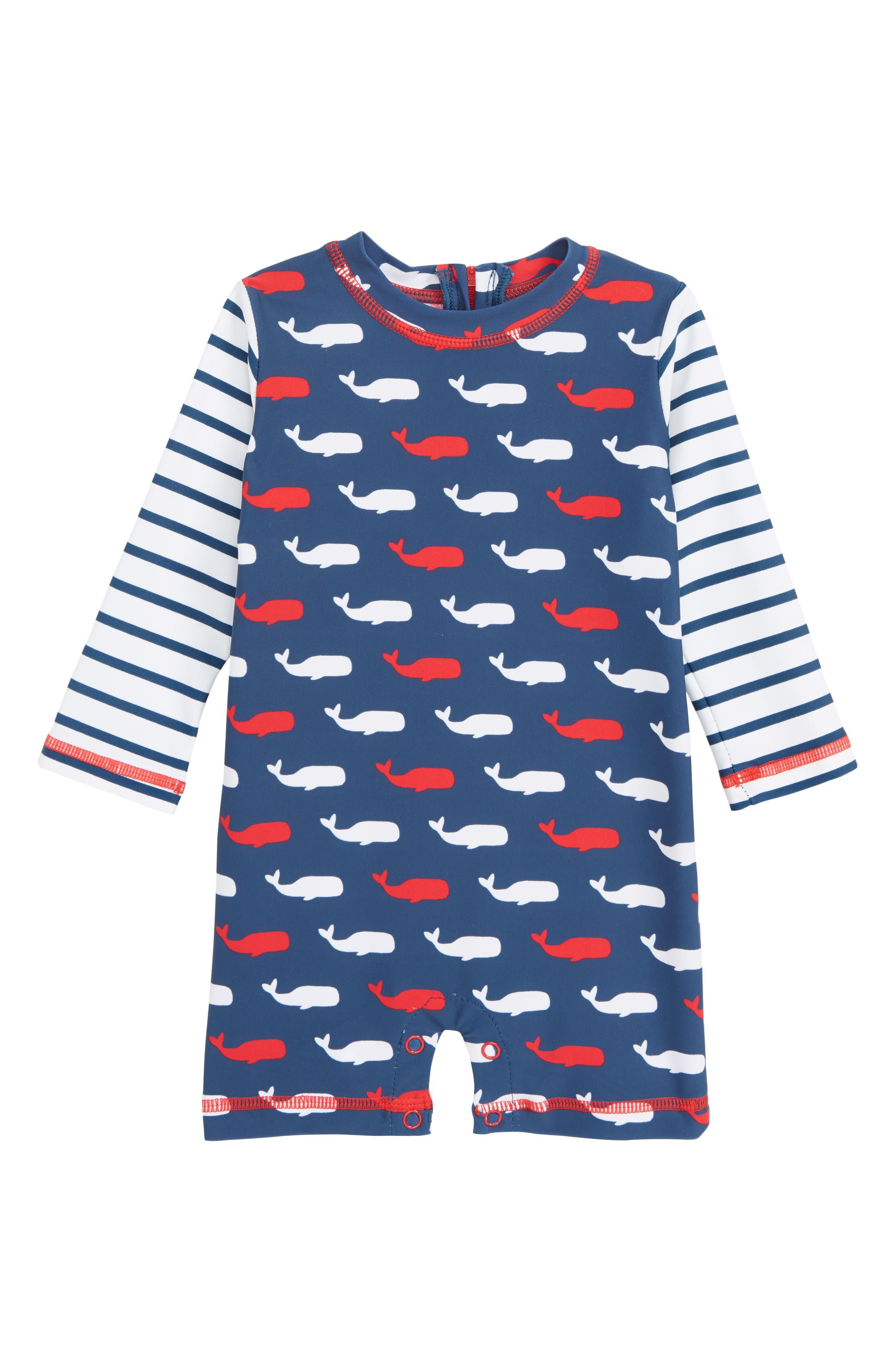 HATLEY Whale Pod One-Piece Rashguard Swimsuit, Main, color, 400