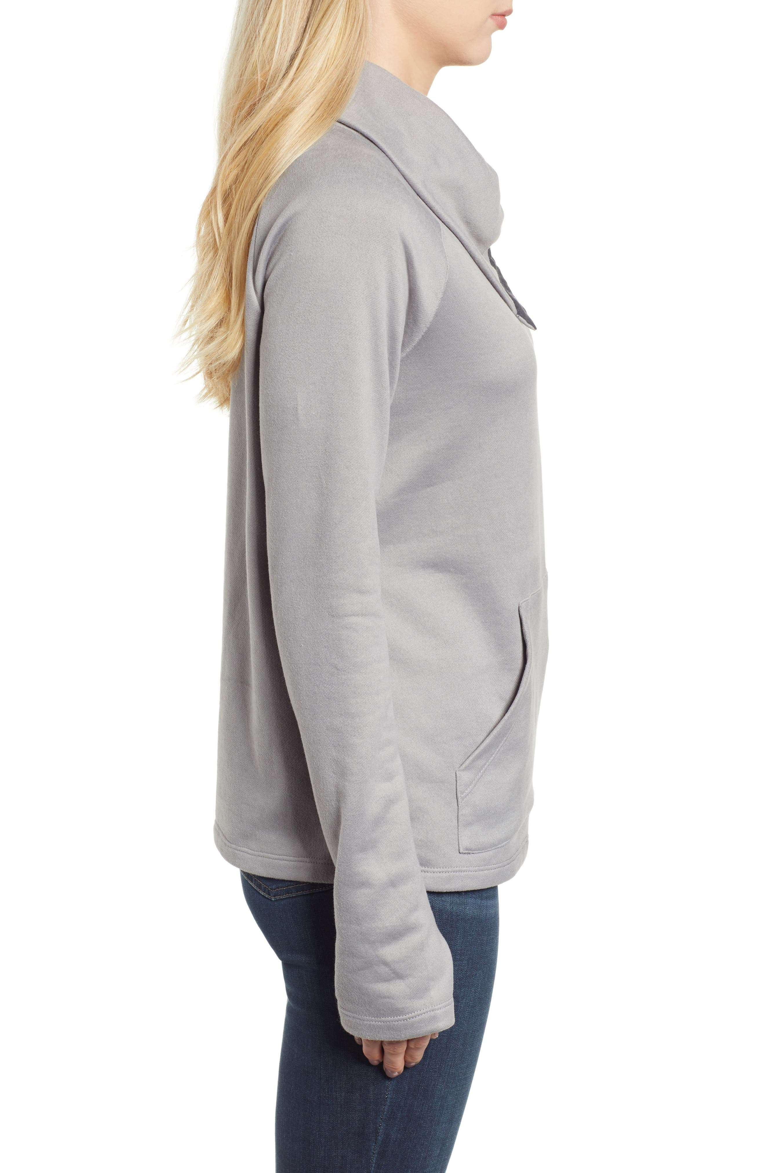 GIBSON, x Living in Yellow Judy Plush Fleece Pullover, Alternate thumbnail 3, color, GREY