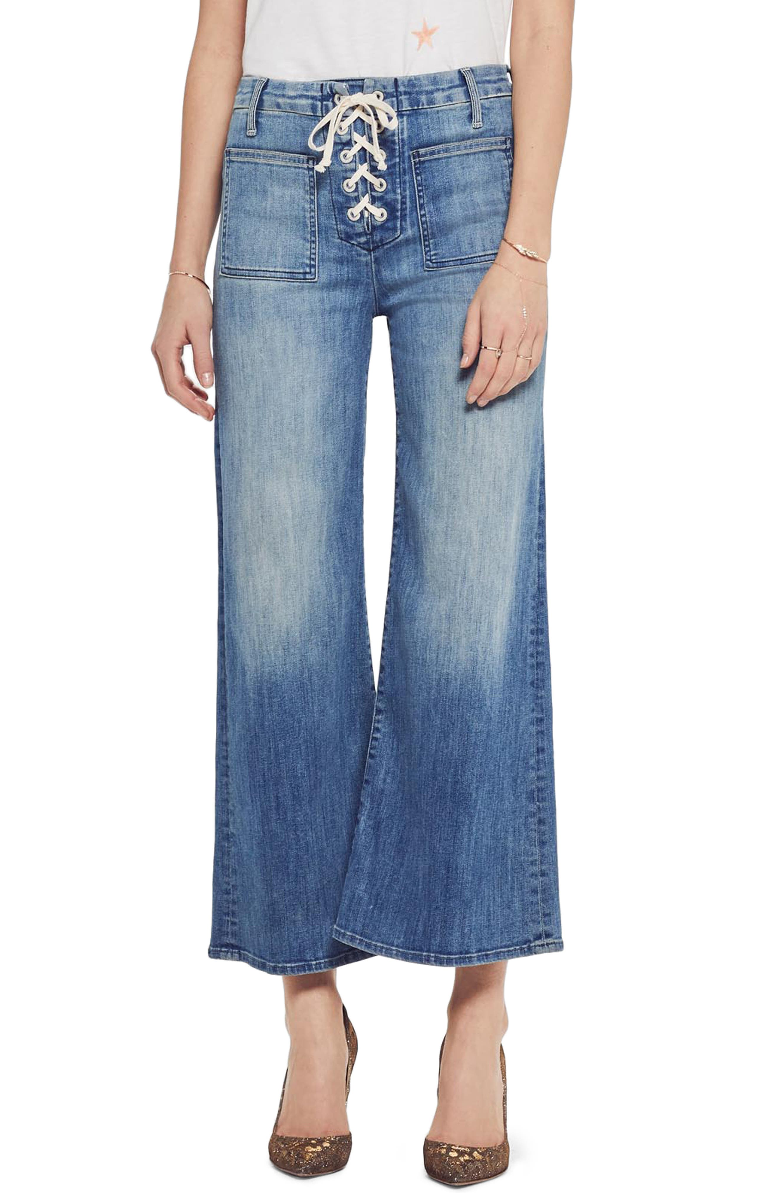MOTHER, The Lace Up Crop Flare Jeans, Main thumbnail 1, color, WHERE THERES SMOKE