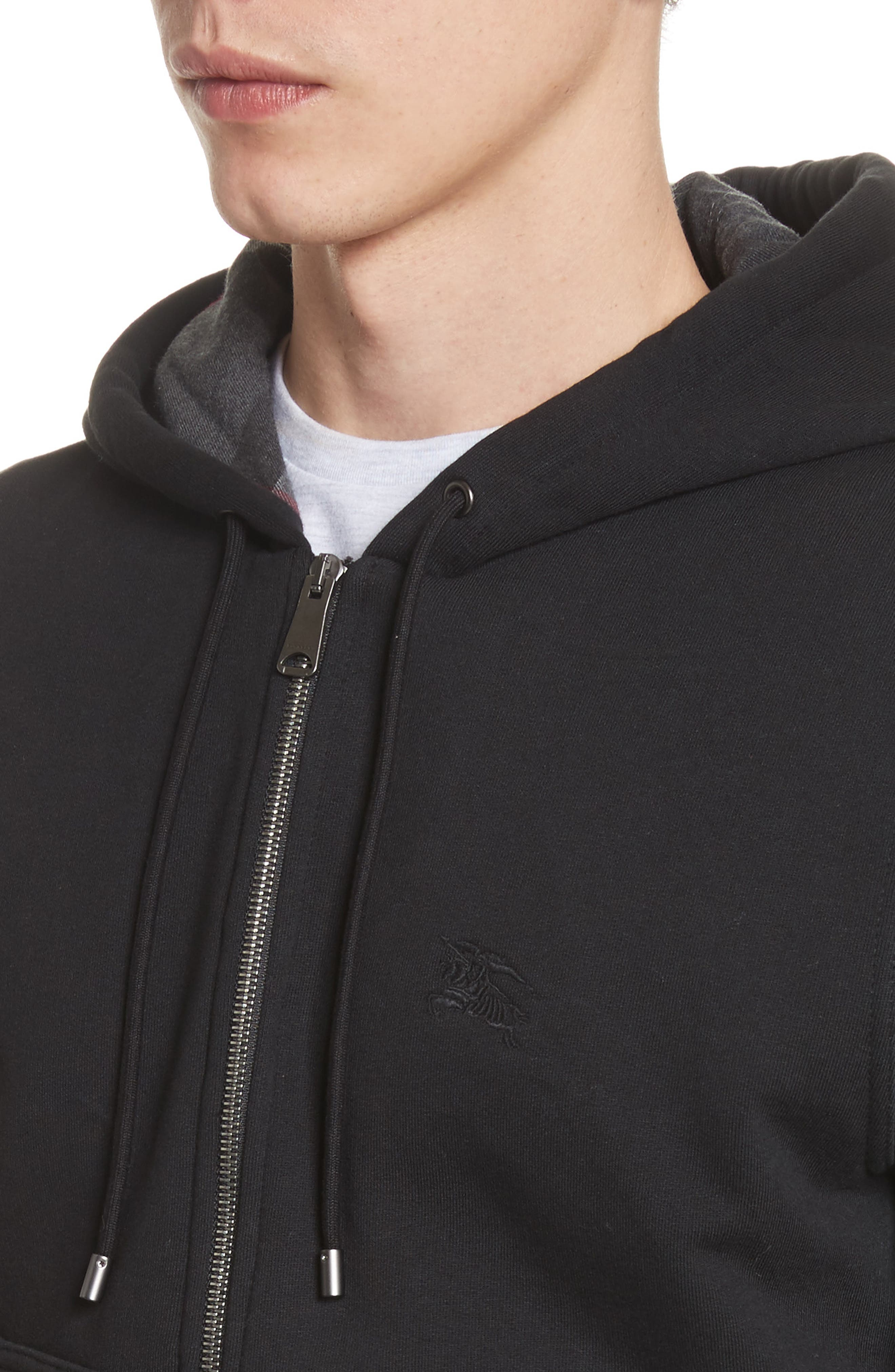 BURBERRY, Fordson Fleece Hoodie, Alternate thumbnail 4, color, BLACK