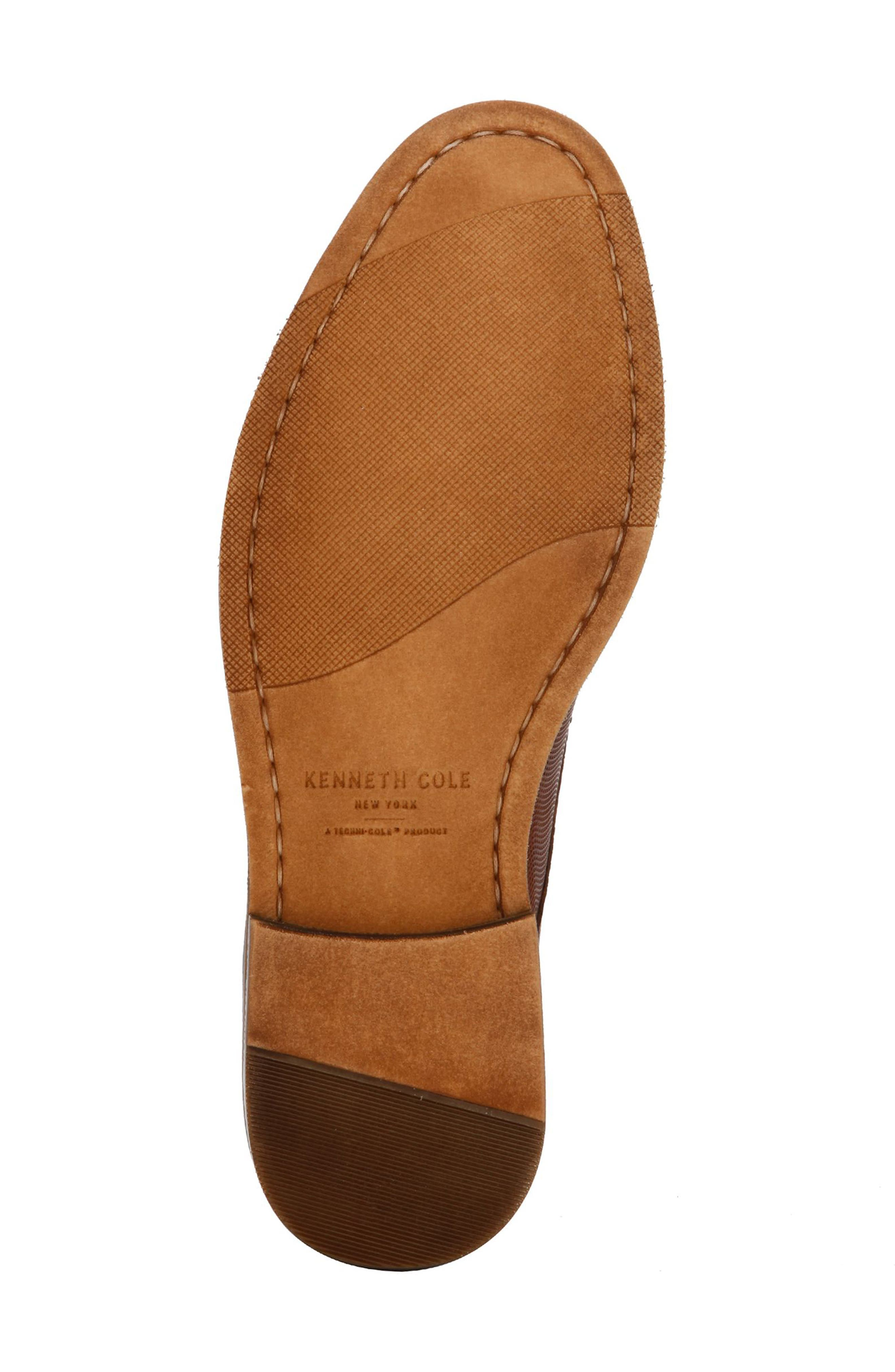 KENNETH COLE NEW YORK, Dance Textured Plain Toe Derby, Alternate thumbnail 4, color, COGNAC EMBOSSED LEATHER
